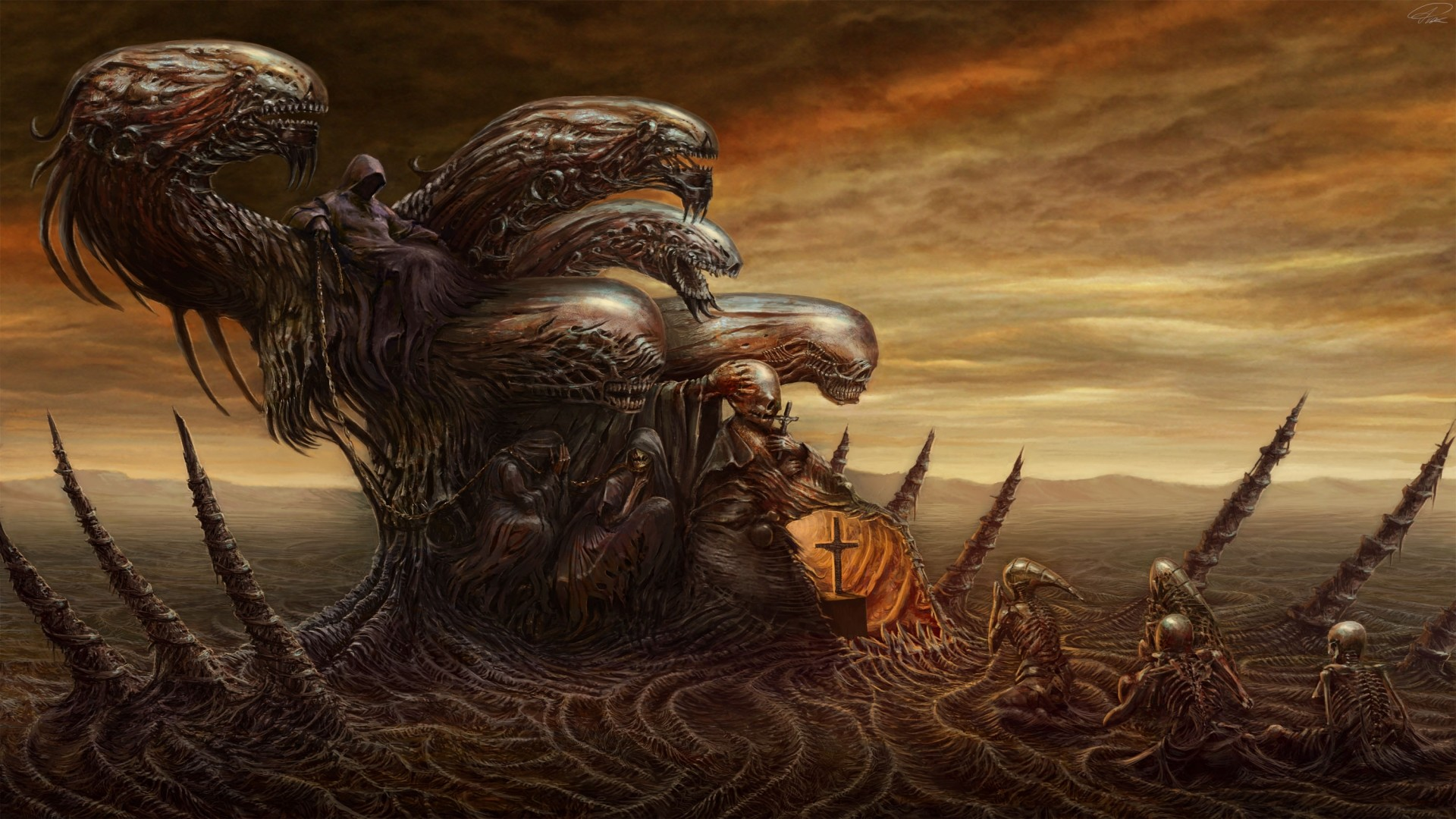 dark evil horror art skull demon monster creature sci fi wallpaper .