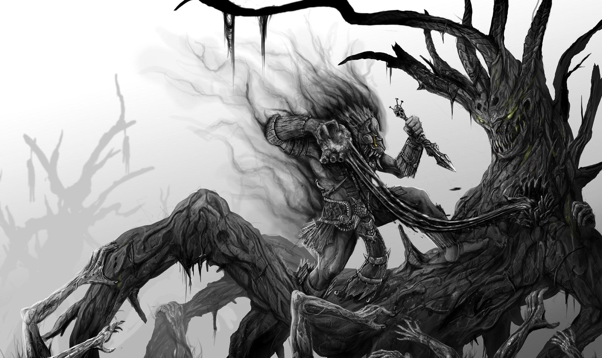 Dark fantasy warrior monster creatures weapon horror scary creepy spooky  art battle wallpaper     28273   WallpaperUP