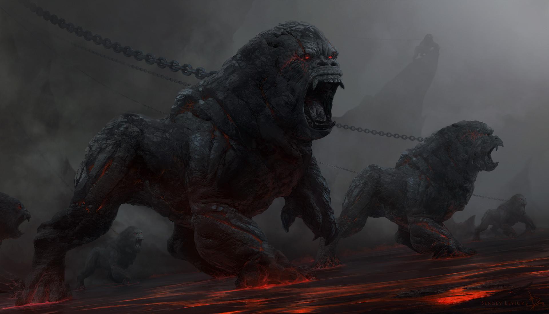 (Stone apes demons chained wallpaper fantasy high definition digital art  Hell demonic)