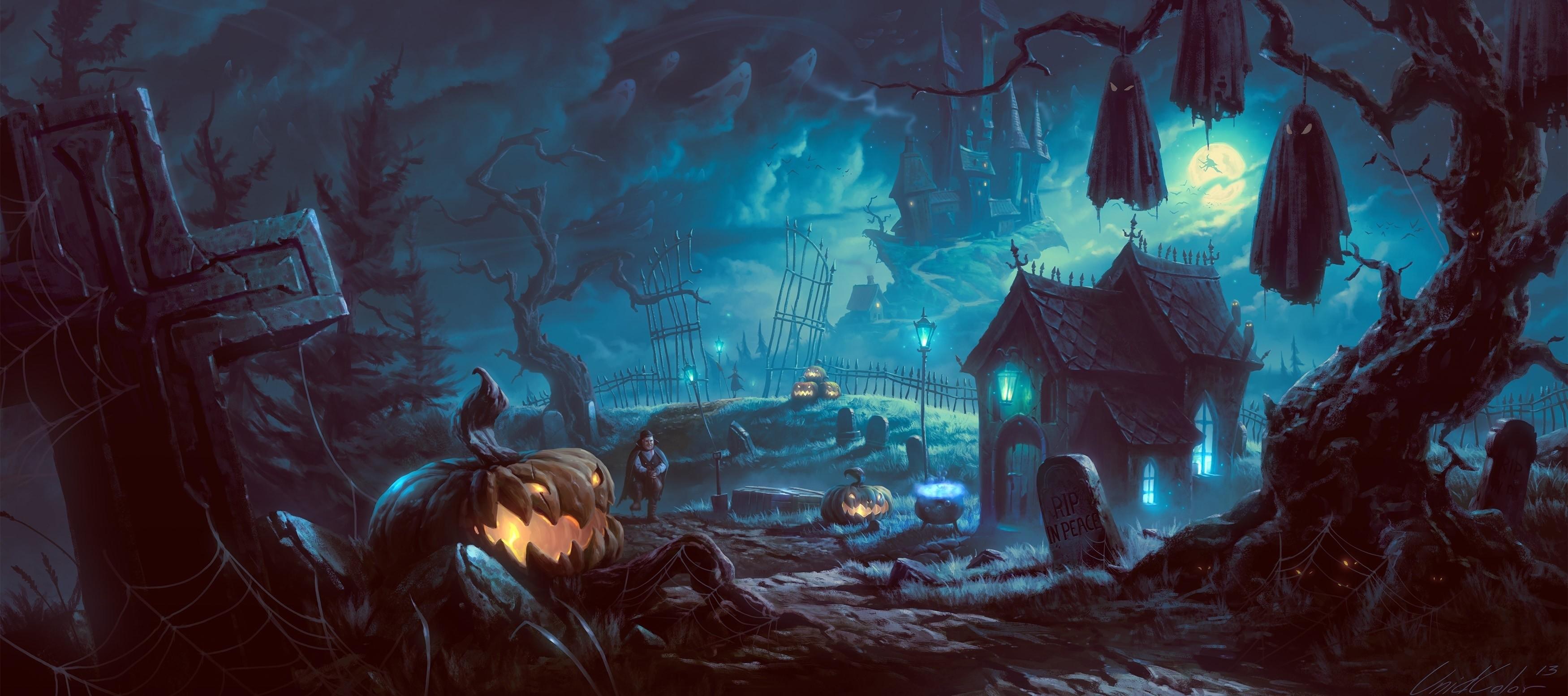 art night trees halloween pumpkin vampire wallpaper
