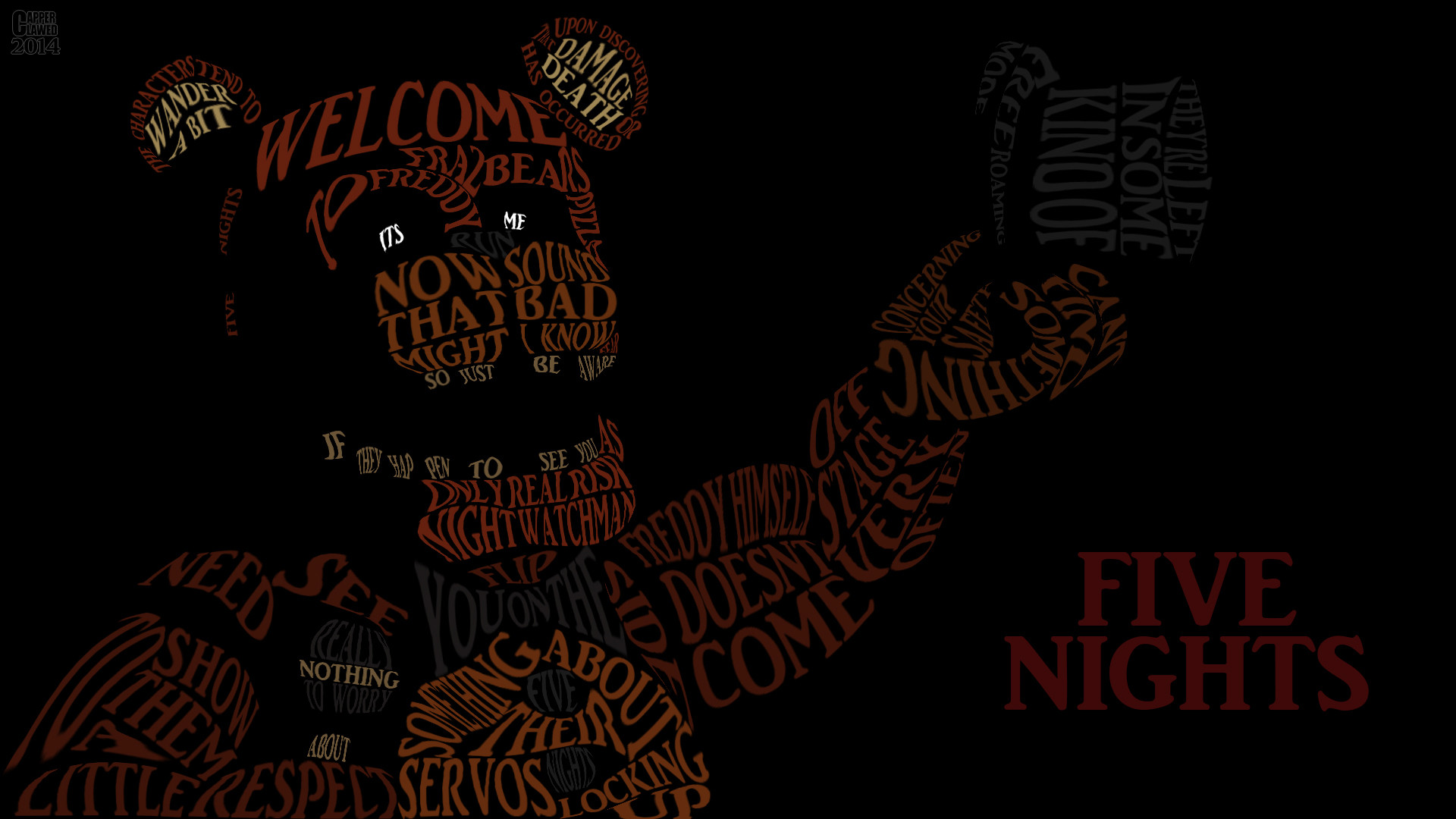 … Five Night at Freddys word art by CapperClawed