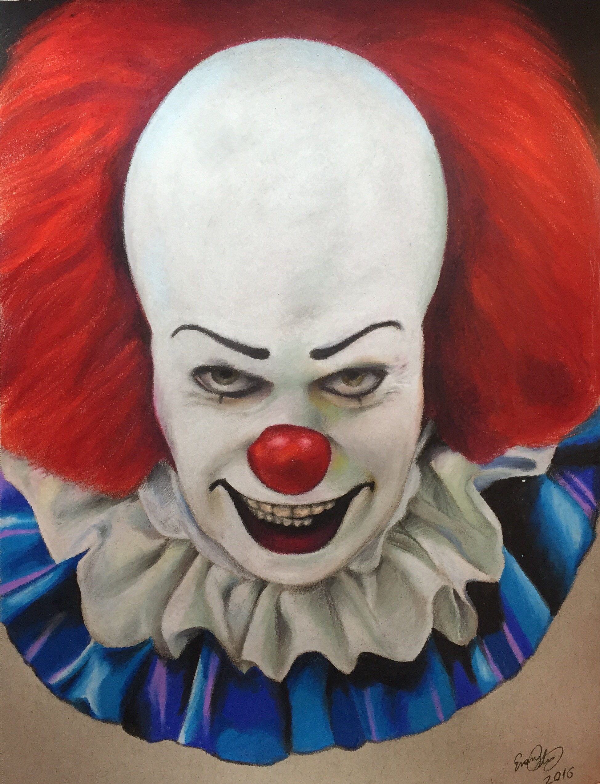 … Pennywise the clown colored pencil drawing by evanartt