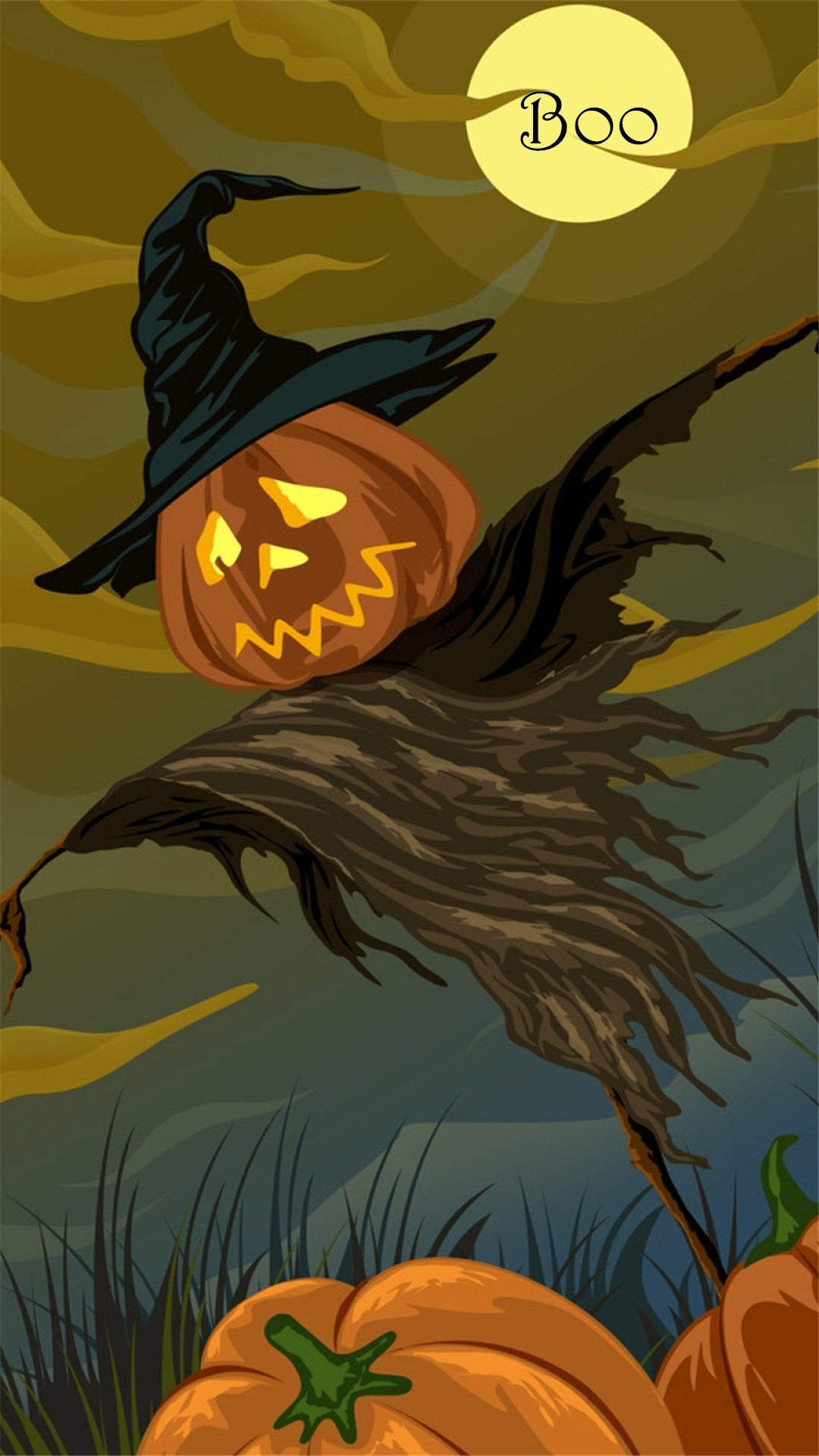 Scary Halloween pumpkin scarecrow Boo iPhone 6 plus wallpaper – moon, witch  hat #2014