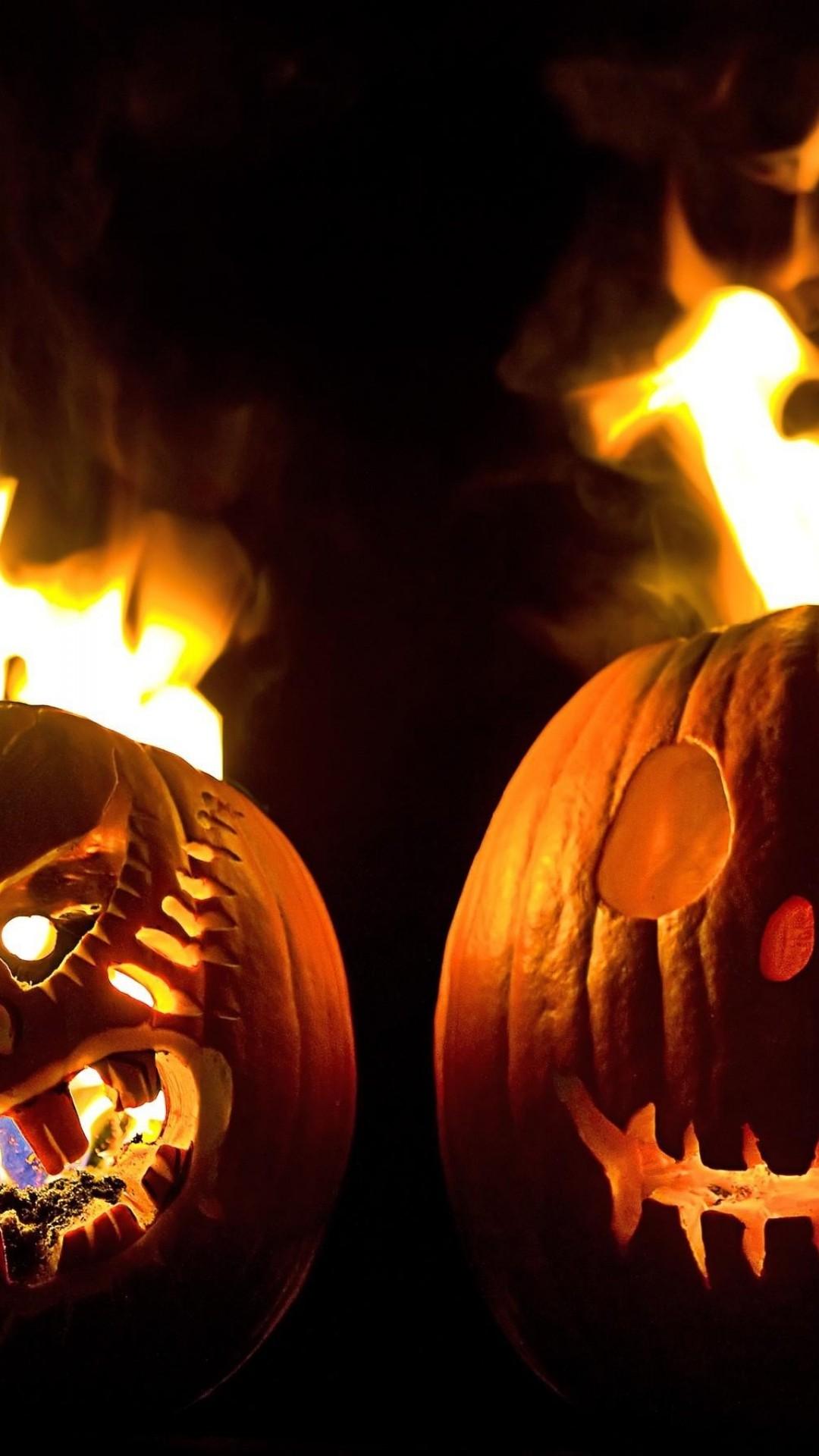 Two Halloween Pumpkins Fire Android Wallpaper free download. Two Halloween  Pumpkins Fire Android Wallpaper Free Download