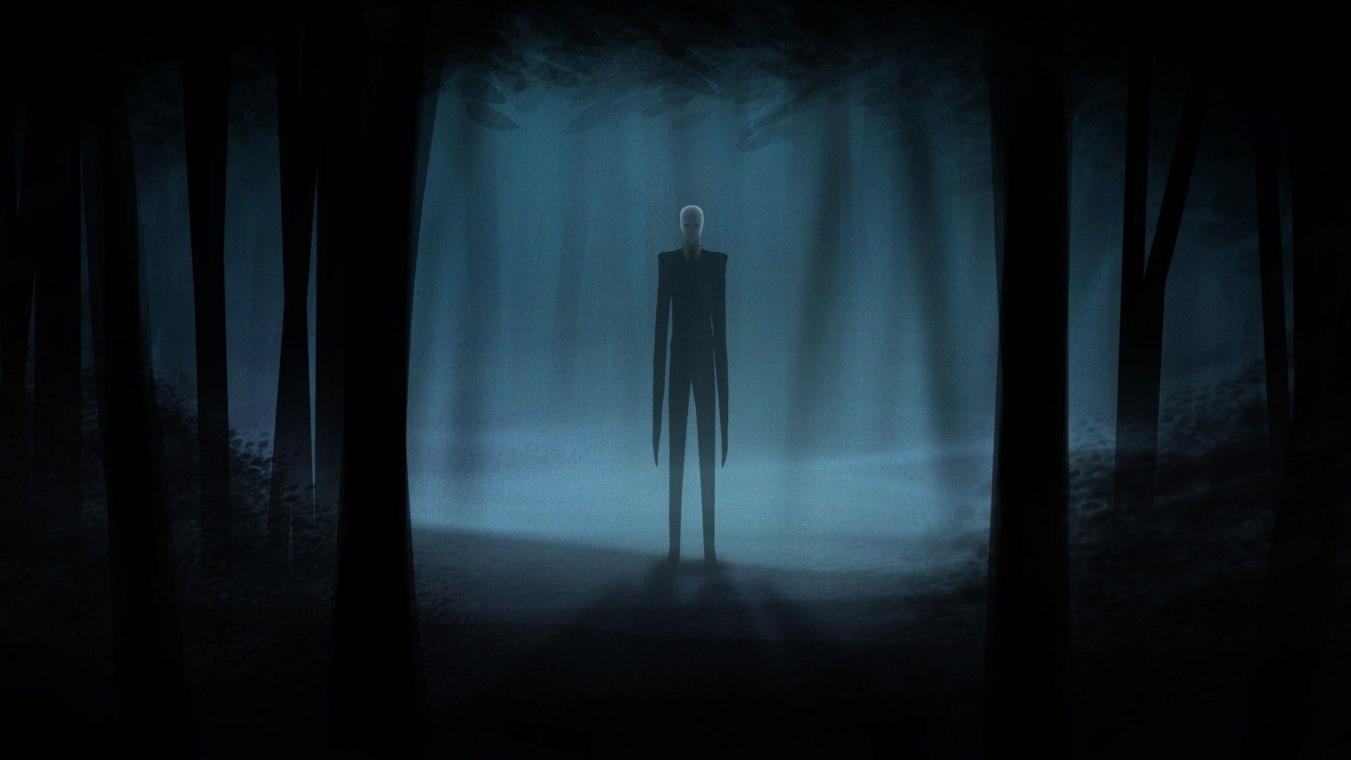 Slender Man Creepy Dark videogames dark horror trees forest .