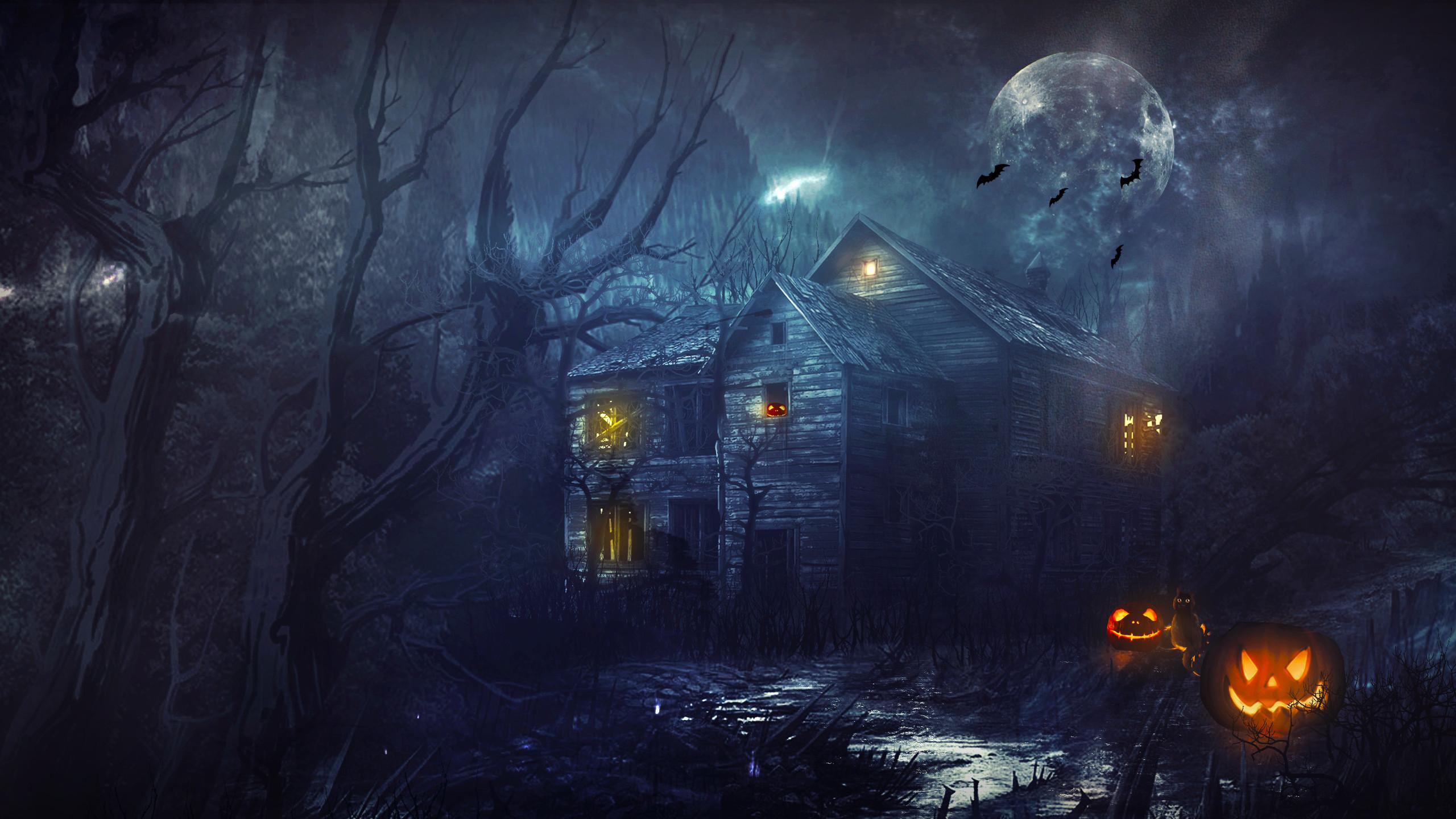 Halloween House Night Moon Pumpkin wallpaper | | 166945 .