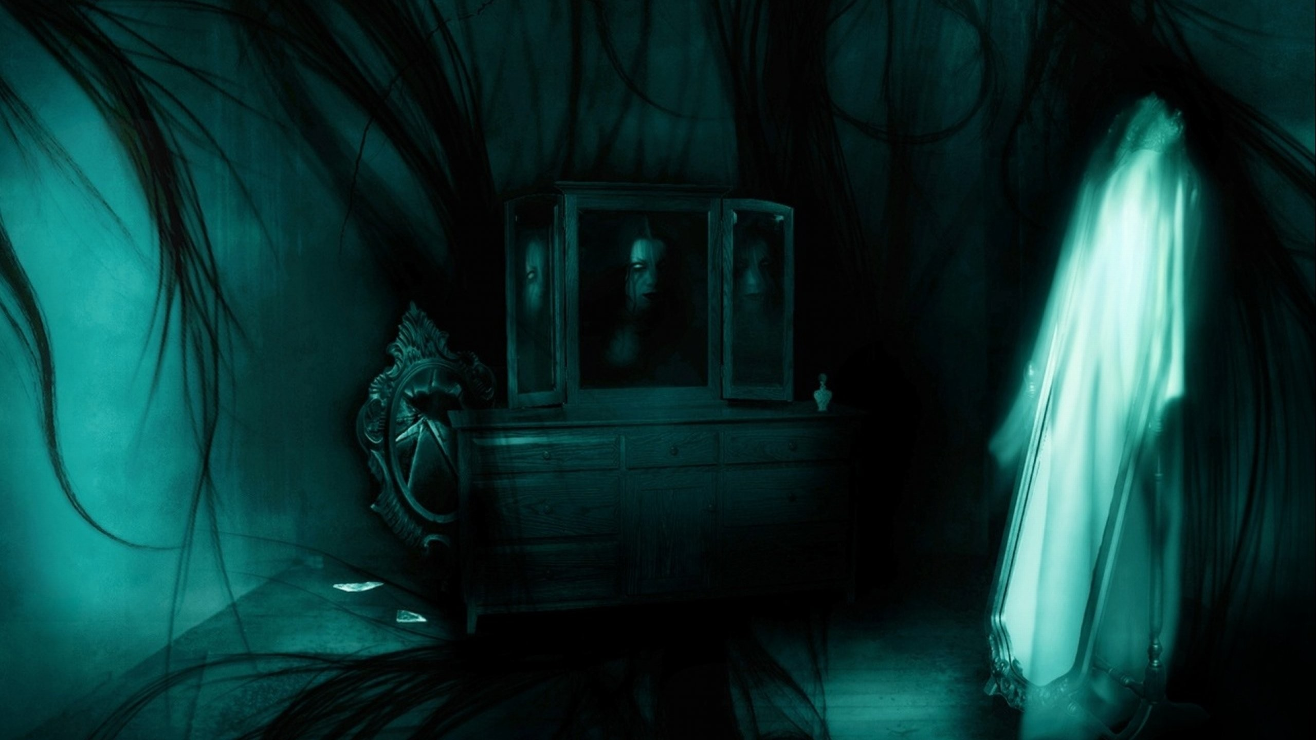 dark-ghost-fantasy-art-artwork-horror-spooky-creepy-halloween-gothic- wallpaper-1.jpg (2560×1440) | cool stuff | Pinterest | Creepy ghost, 3d  wallpaper and …