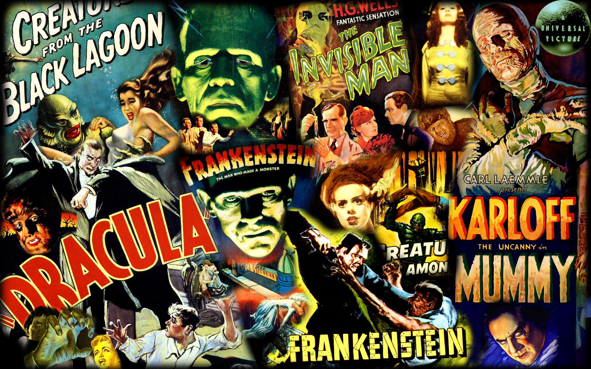 Universal Monsters poster collage/wallpaper. See more at: https …  Universal Monsters Poster Collage Wallpaper See More At S