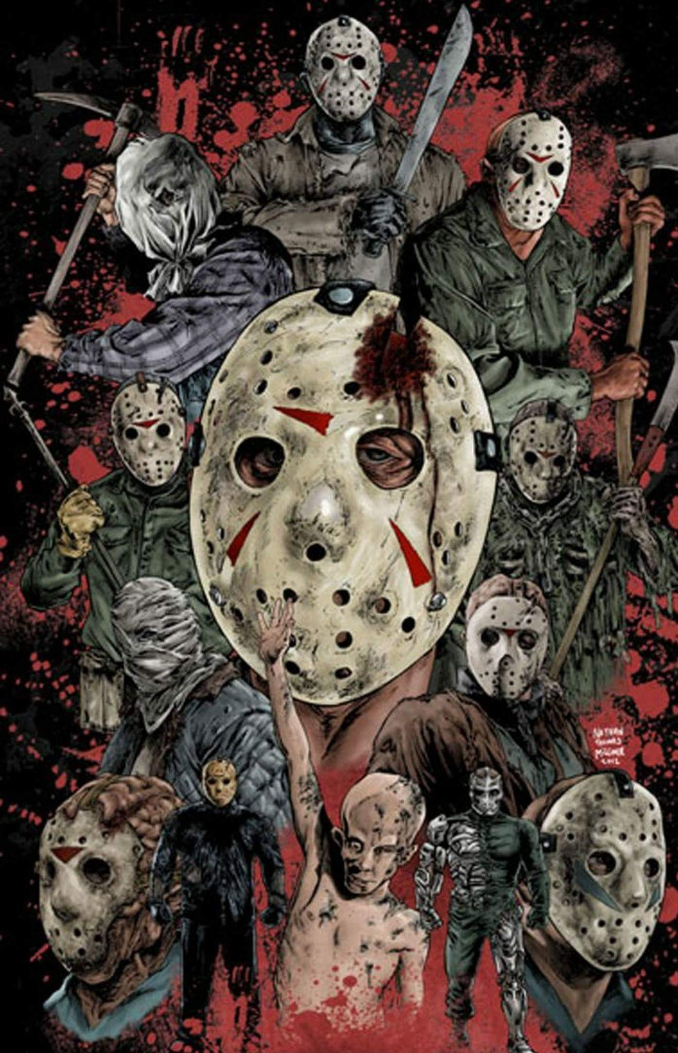 I love cheesy slasher movies. Here is a portrait of some of the most  beloved movie maniacs of all.