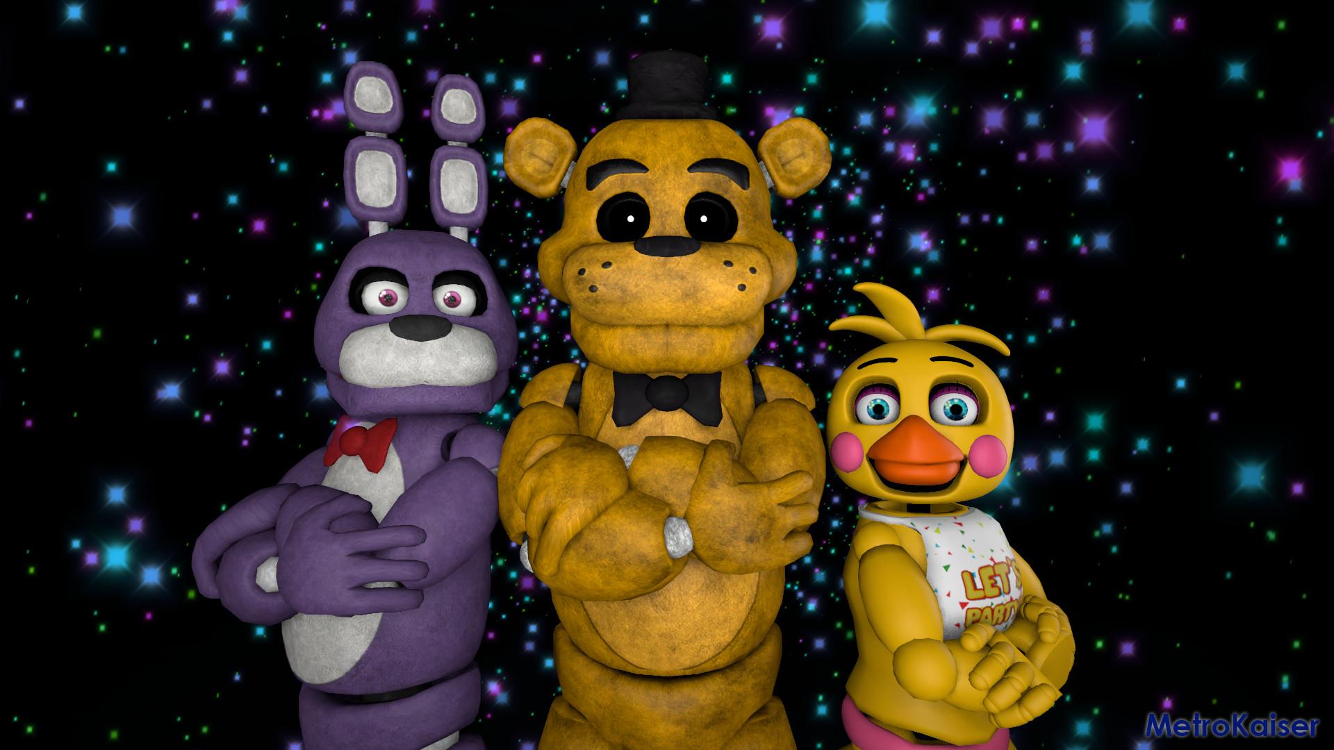 … FNAF] Bonnie, Golden Freddy and Toy Chica by wstmetro