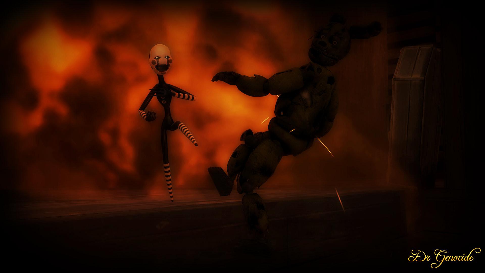 FNAF 3: Marionette vs Springtrap Wallpaper by DrGenocideSFM on .