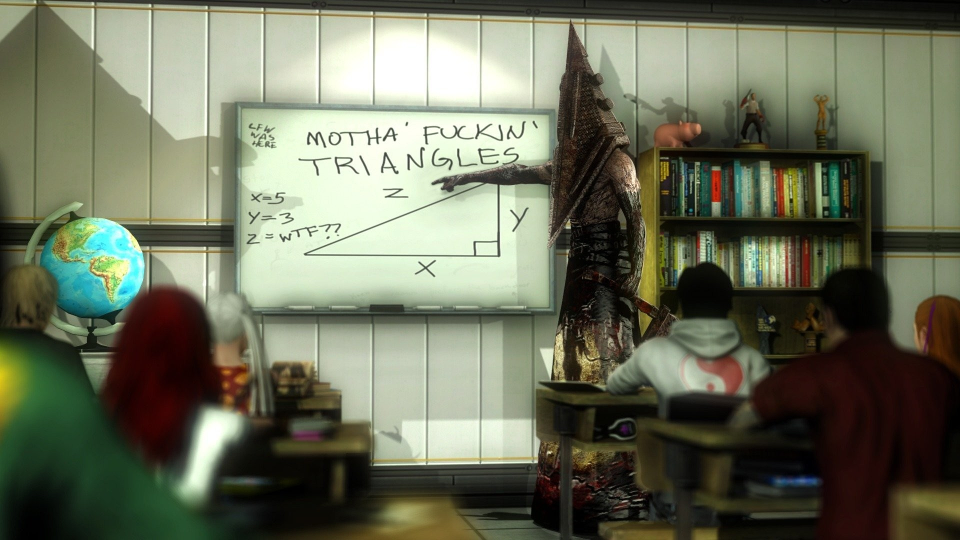 pyramid pyramid head school lesson silent hill board teacher globe the  situation students triangle party class