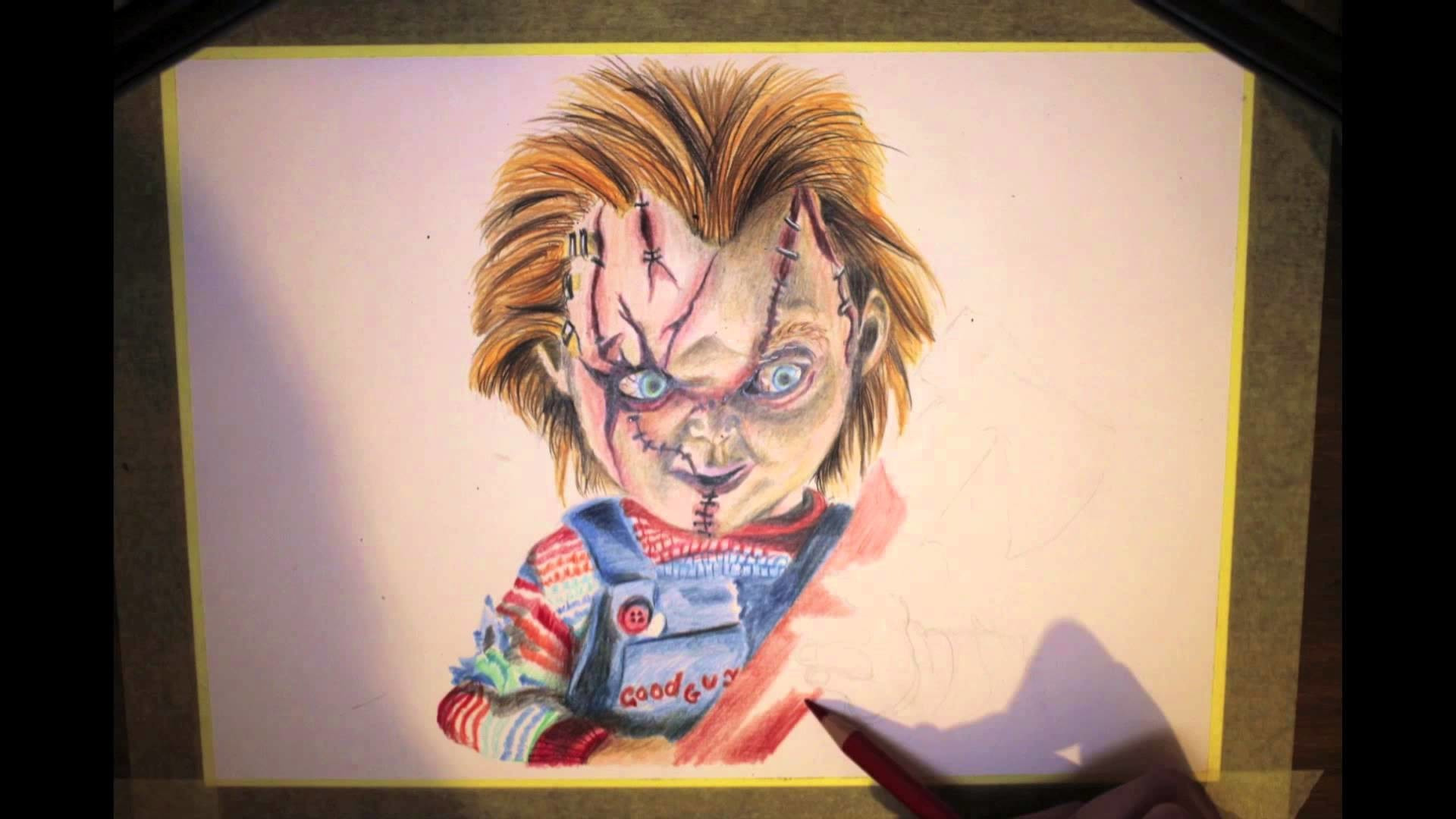 Time-Lapse Coloured Pencil Drawing of Chucky (Static-X Version) – YouTube