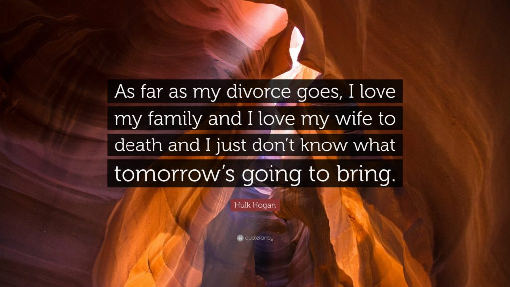 "Hulk Hogan Quote: ""As far as my divorce goes, I love my family"