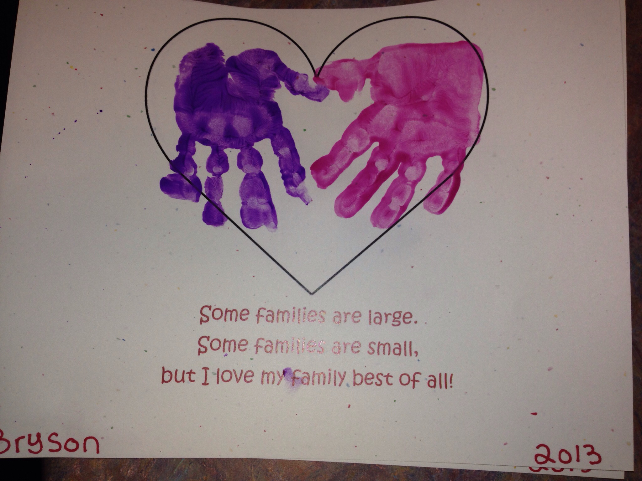 I love my family best of all! -craft for family theme