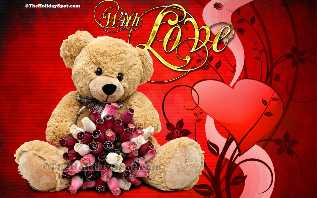 HD Valentine Day wallpaper featuring a teddy with love