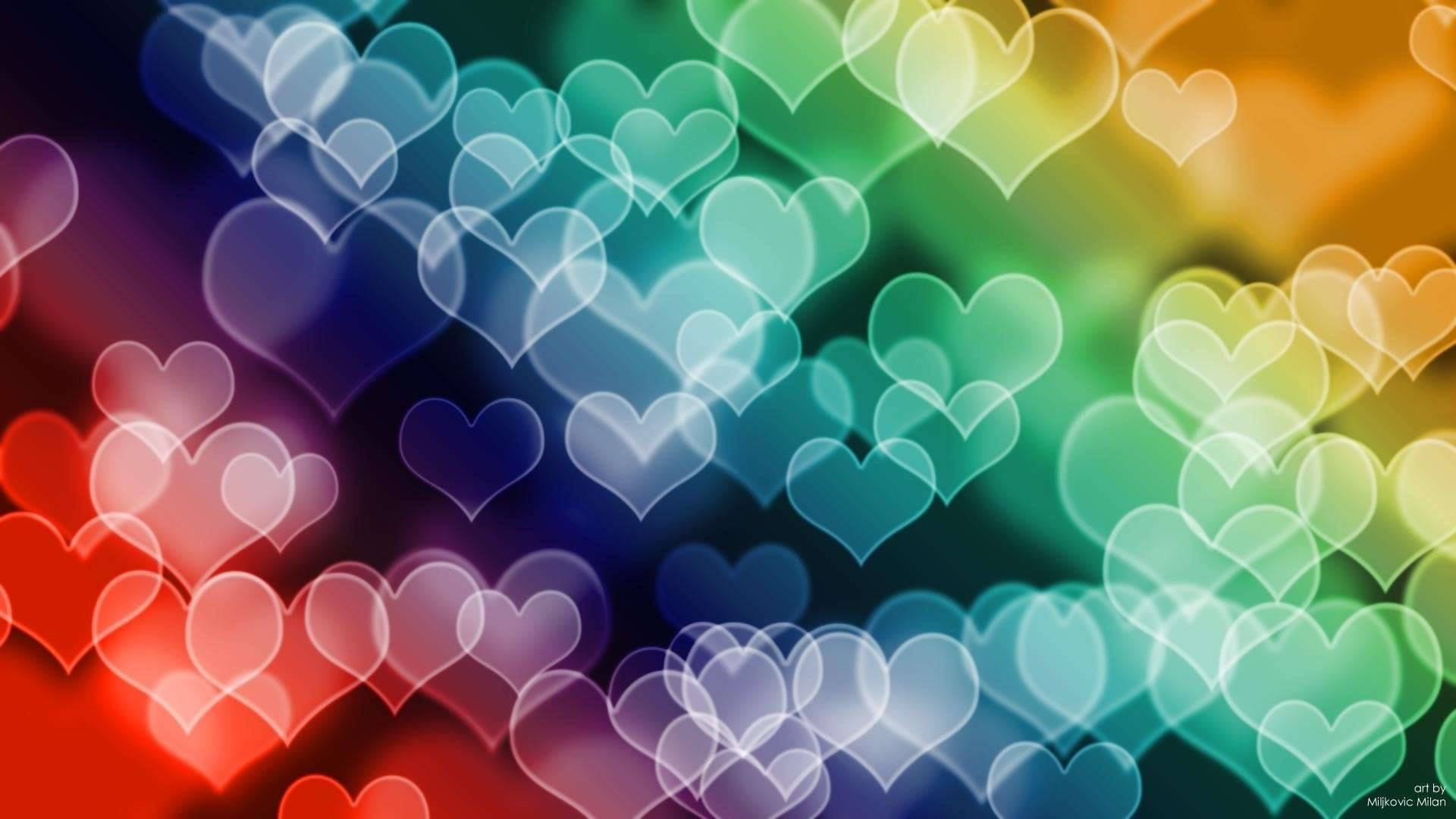 Colored Hearts HD Wallpaper in Full HD from the Valentine's Day category.