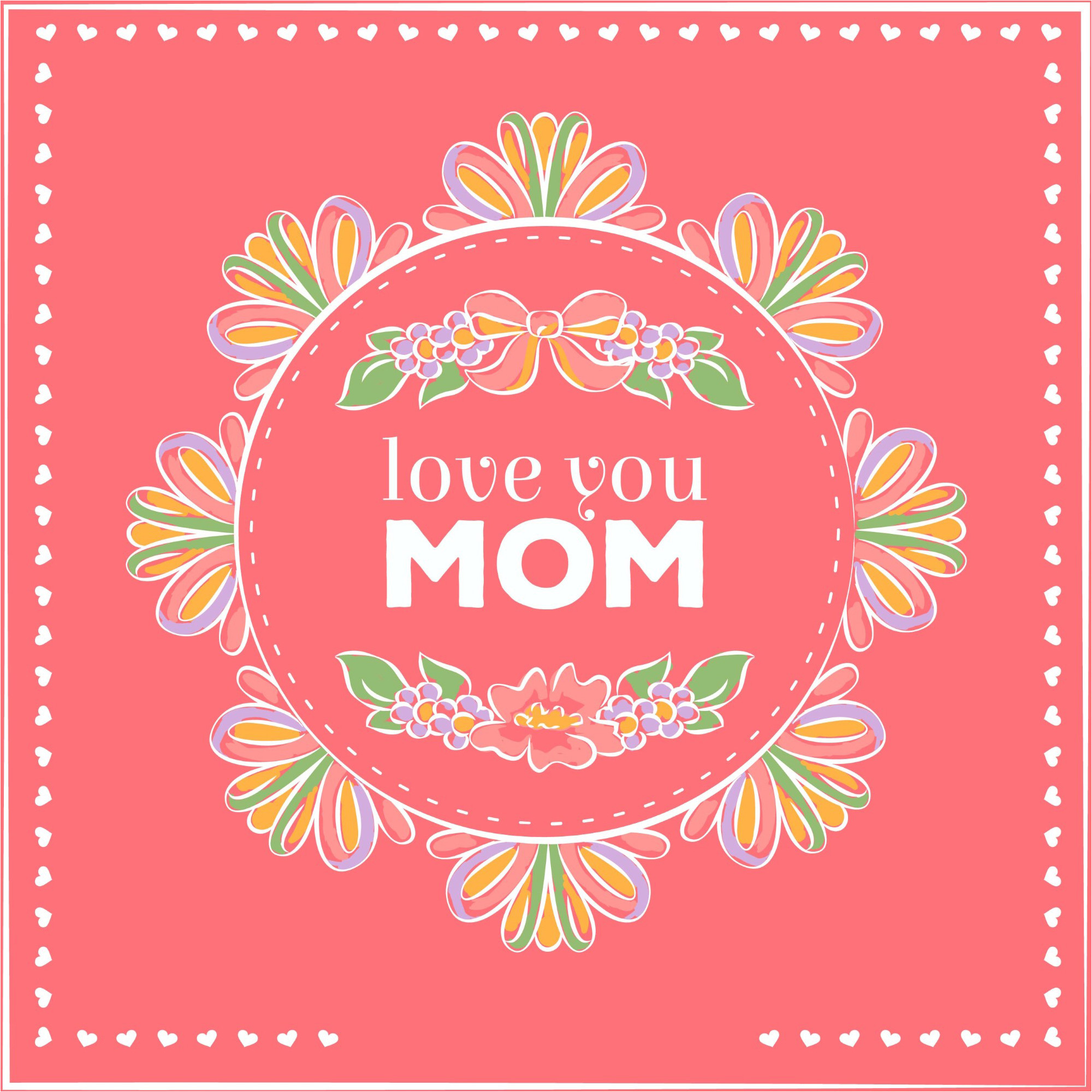Love You Mom happy Mother's Day Greeting card Design Vector & Wallpaper