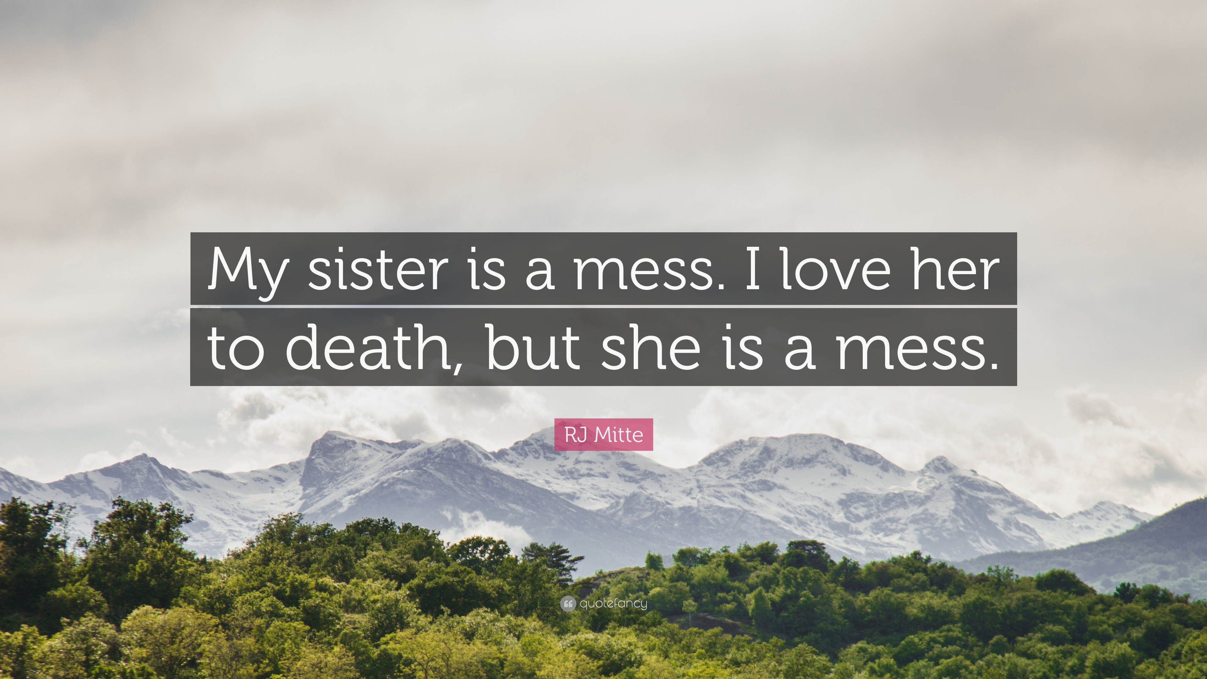 "RJ Mitte Quote: ""My sister is a mess. I love her to death"