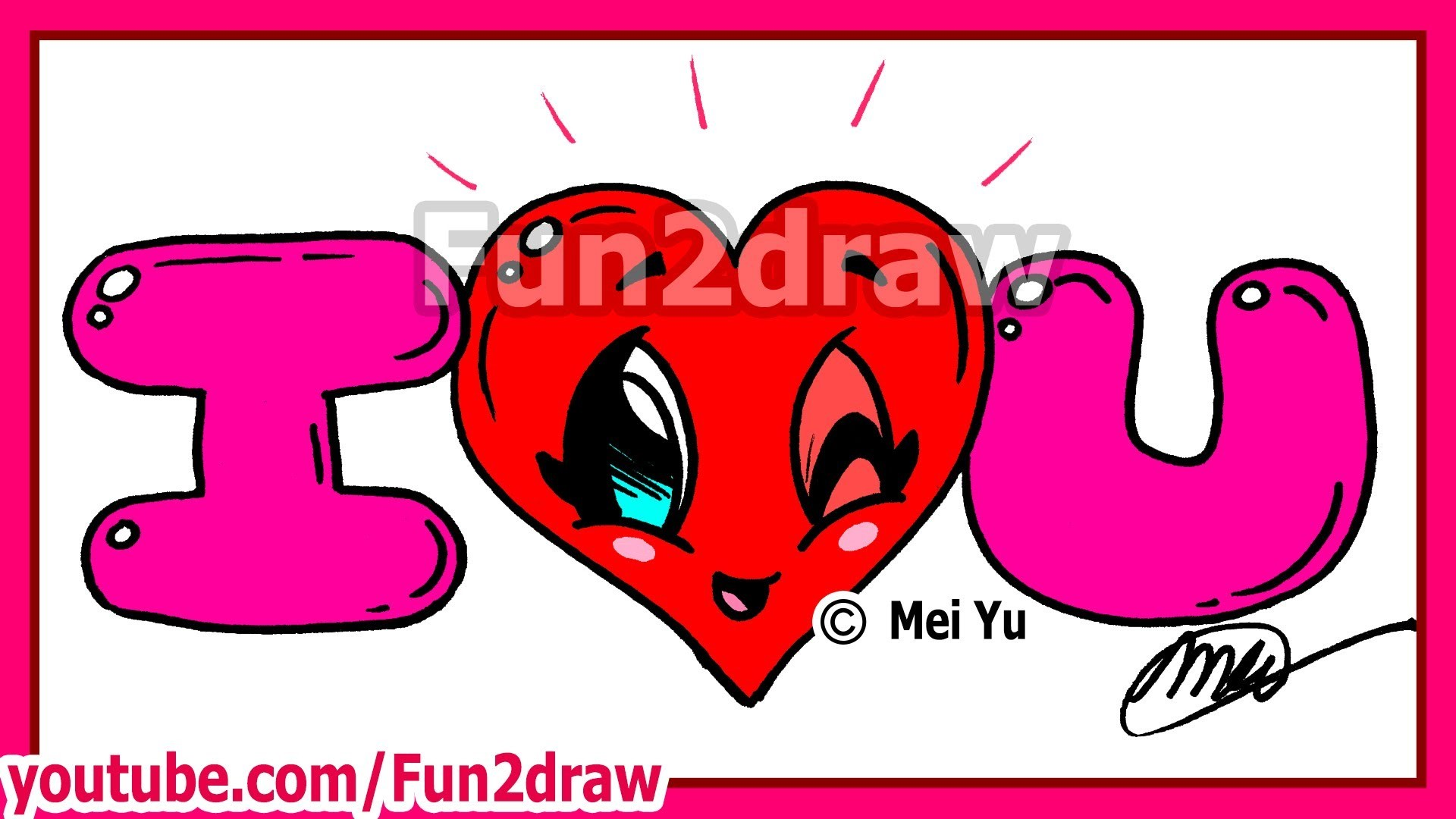 How to Draw I LOVE YOU – Valentine Heart + Bubble Letters – Fun2draw –  YouTube