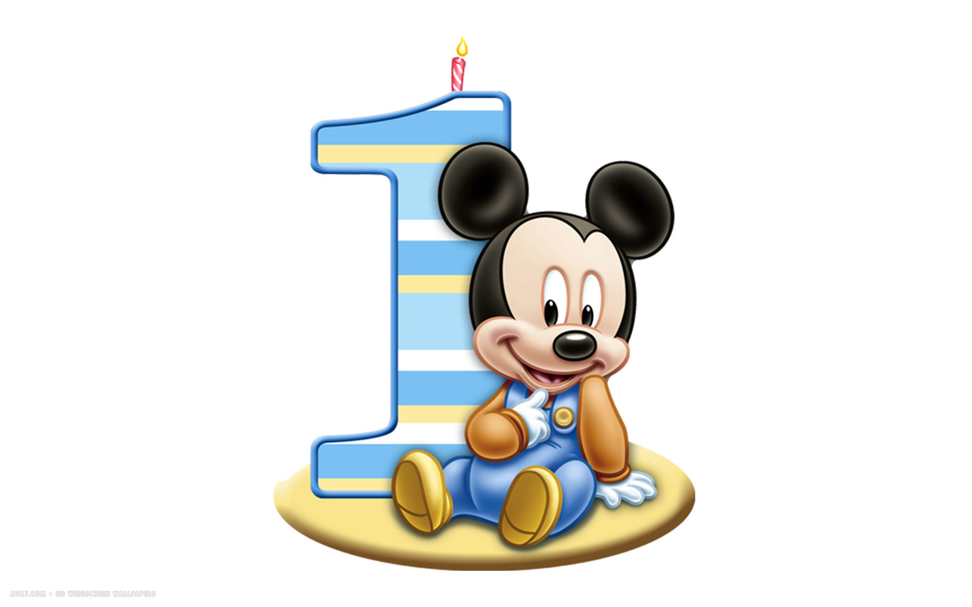 … happy birthday 1st number candle mickey mouse disney white simple