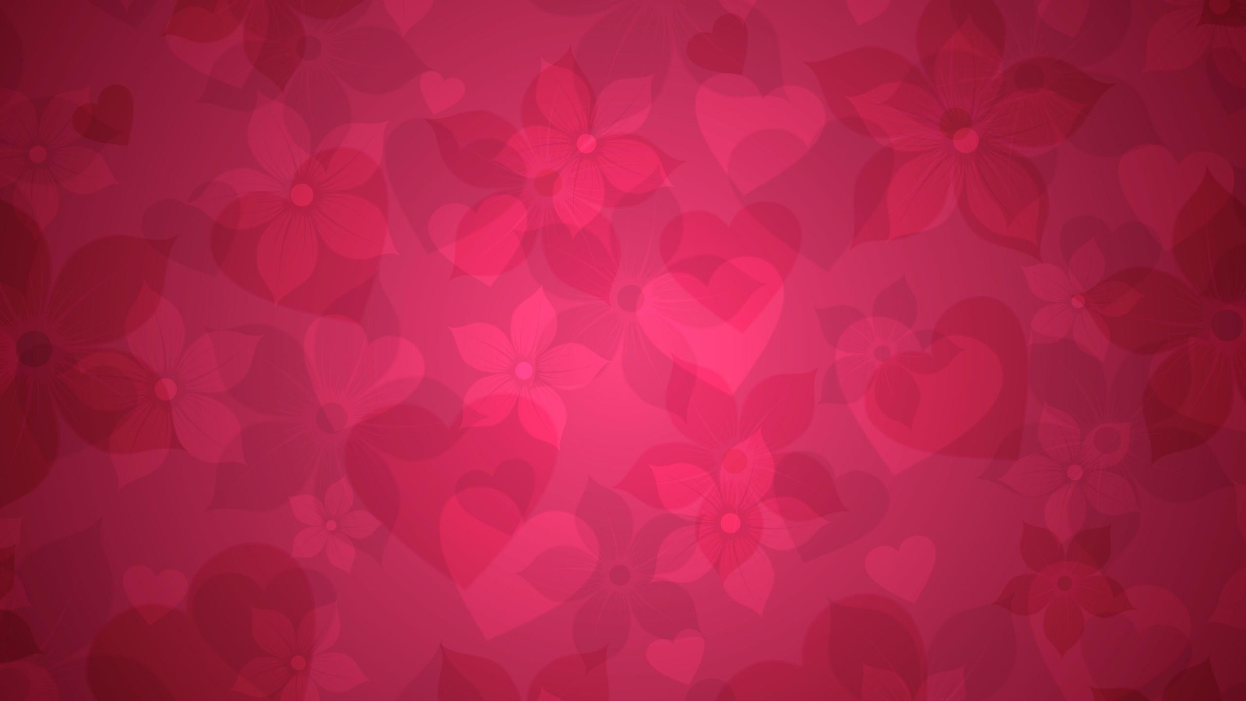 Wallpaper texture, pink, heart, hearts, flowers