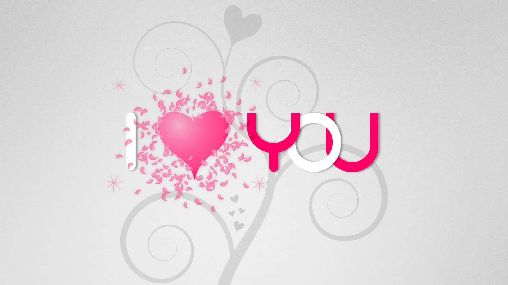 Image: I Love you Pink Heart Abstract Wallpaper