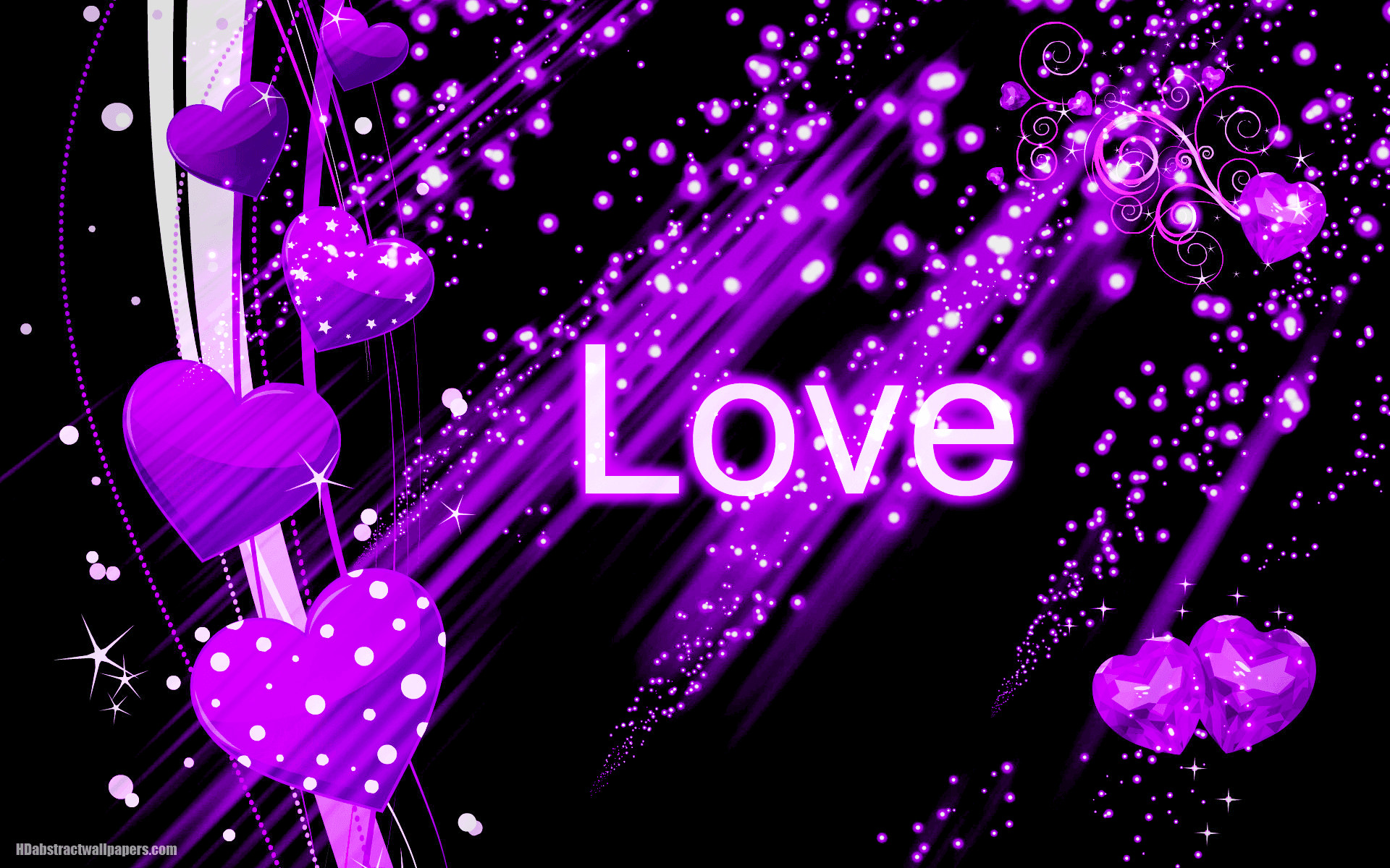 Beautiful black abstract wallpaper with purple love hearts and the text love.  Send this background to your boy or girlfriend, just to say that you are …