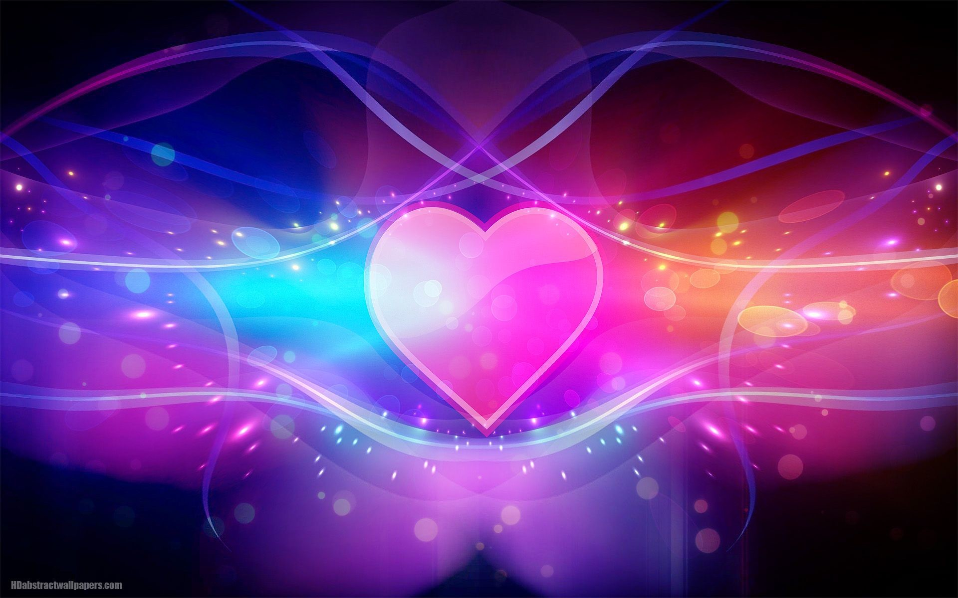 Colorful abstract wallpaper with pink love heart