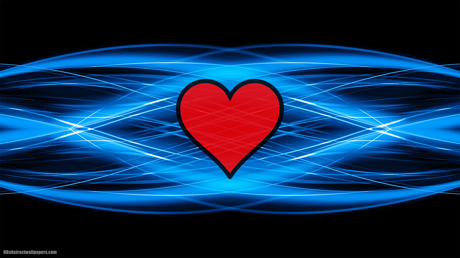 Black blue abstract background with red love heart in the middle, very  clean and modern abstract wallpaper. In HD quality resolution 1920×1080.