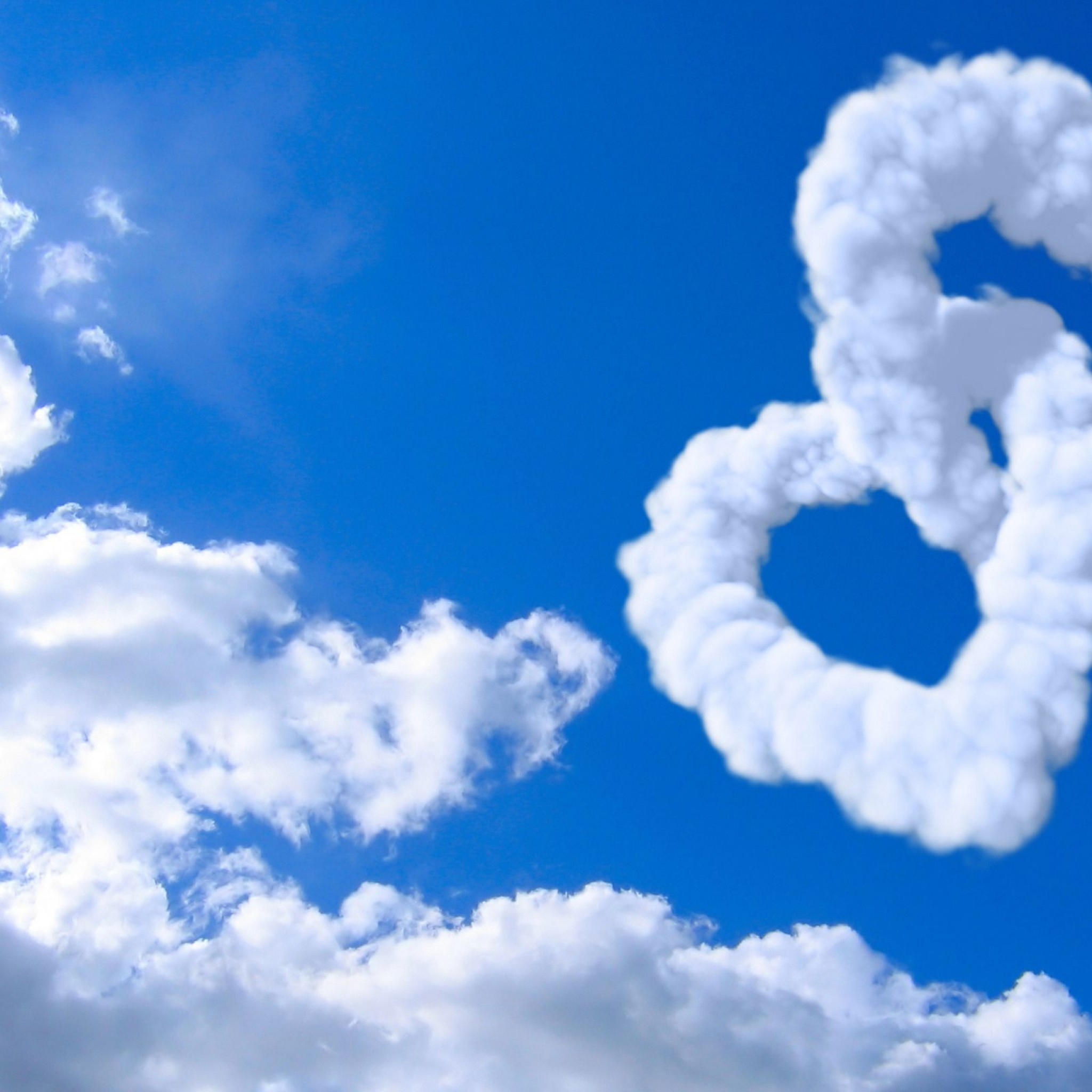 Love Heart Clouds In Blue Sky Heart February S #13790 Wallpaper