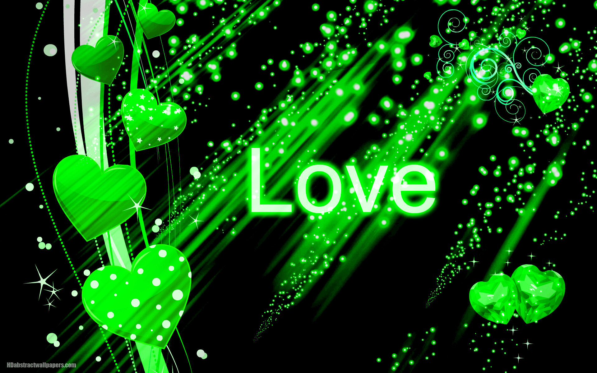 Beautiful black abstract wallpaper with green love hearts and the text love.  Send this background to your boy or girlfriend, just to say that you are  deeply …
