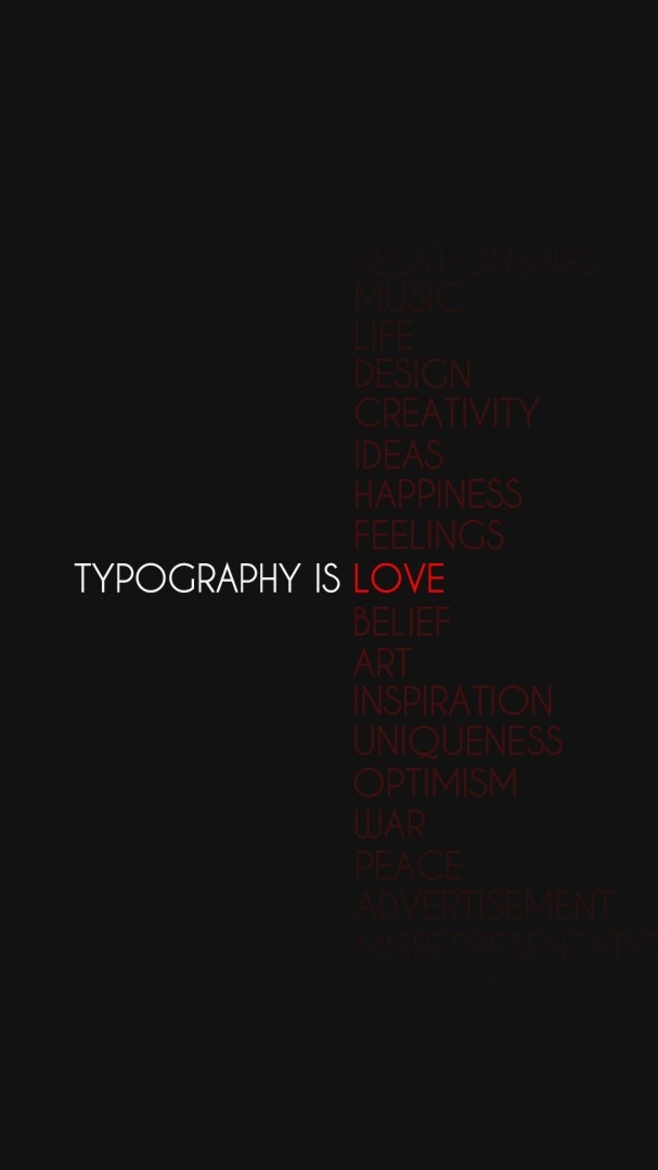 Wallpaper typography is love, black, black background, sign,  reflections