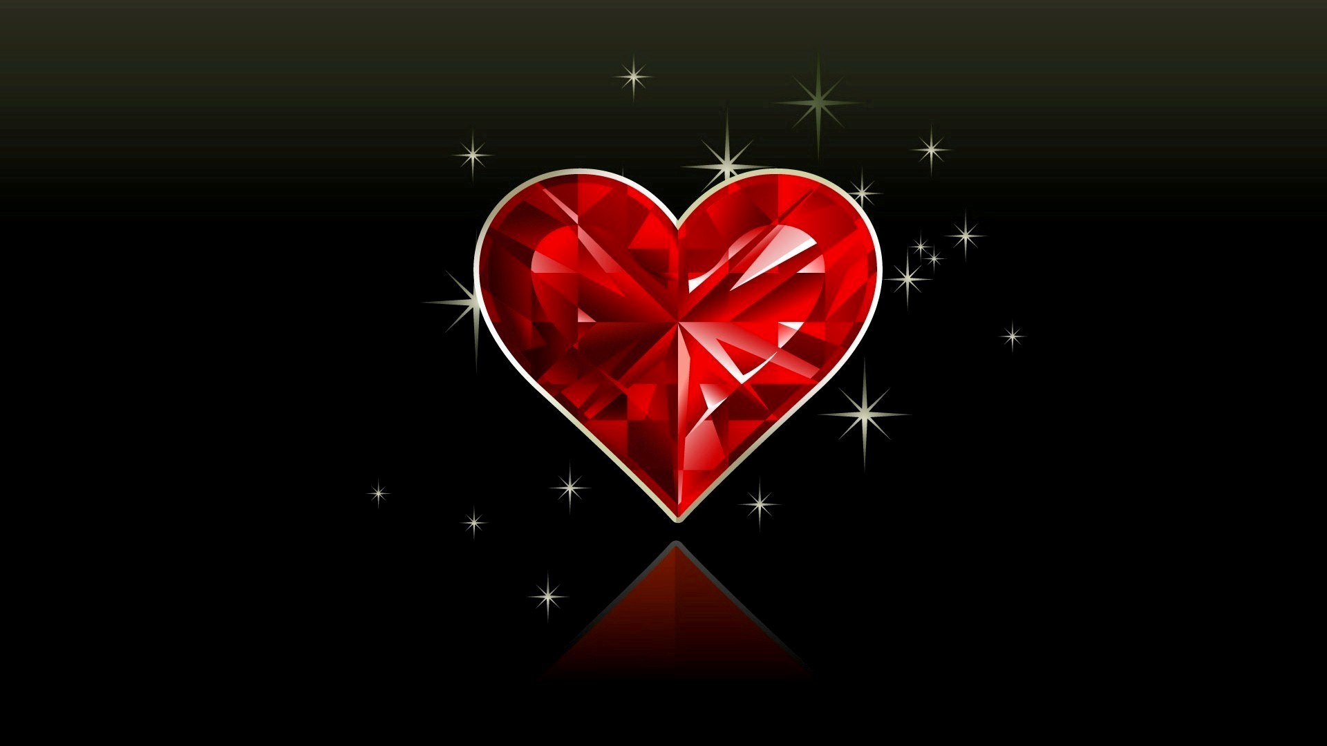 Red Crystal Heart in Black Background