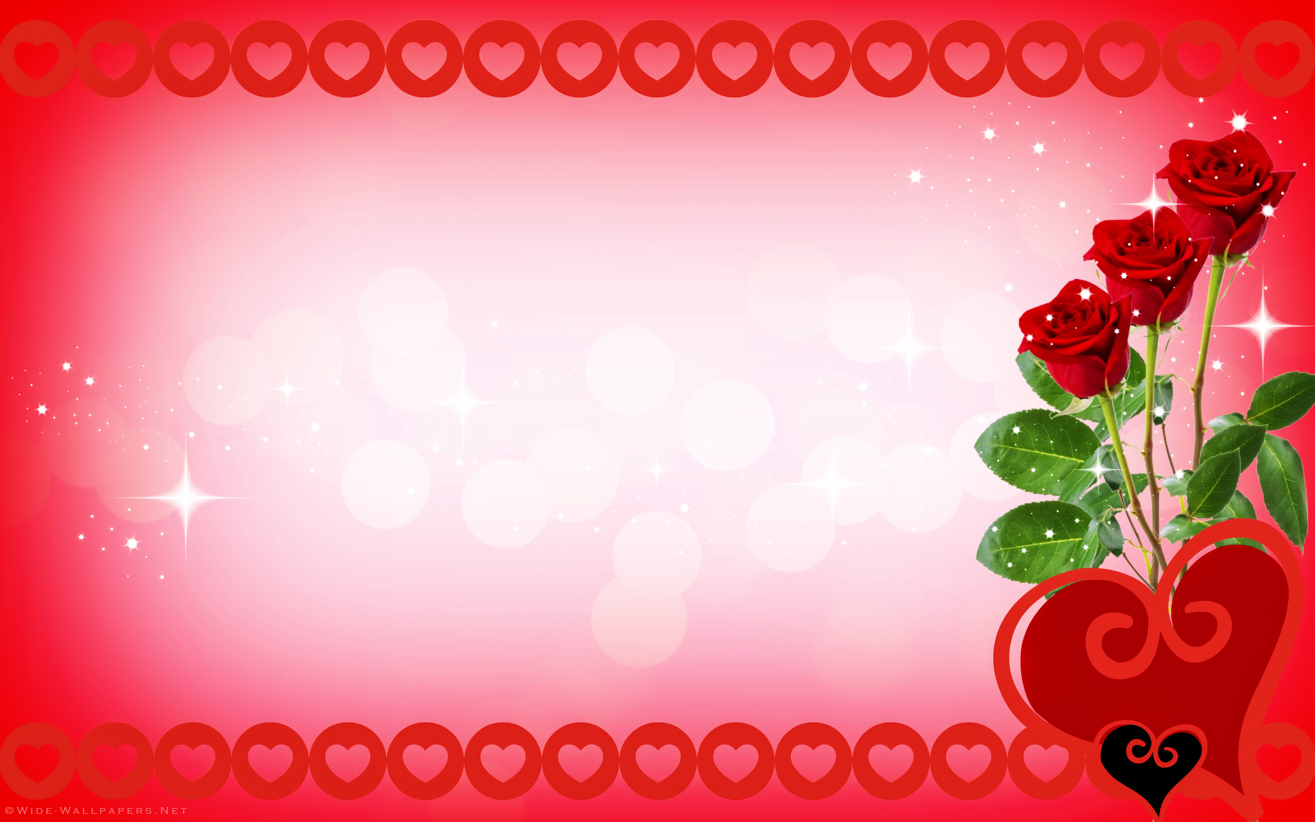 Valentine's Day Card Red Roses and Hearts wallpaper