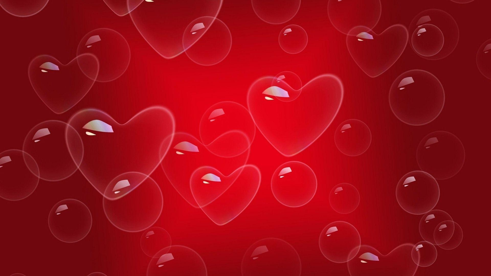 Love Heart Bubbles Red Background Images | HD Wallpapers Images