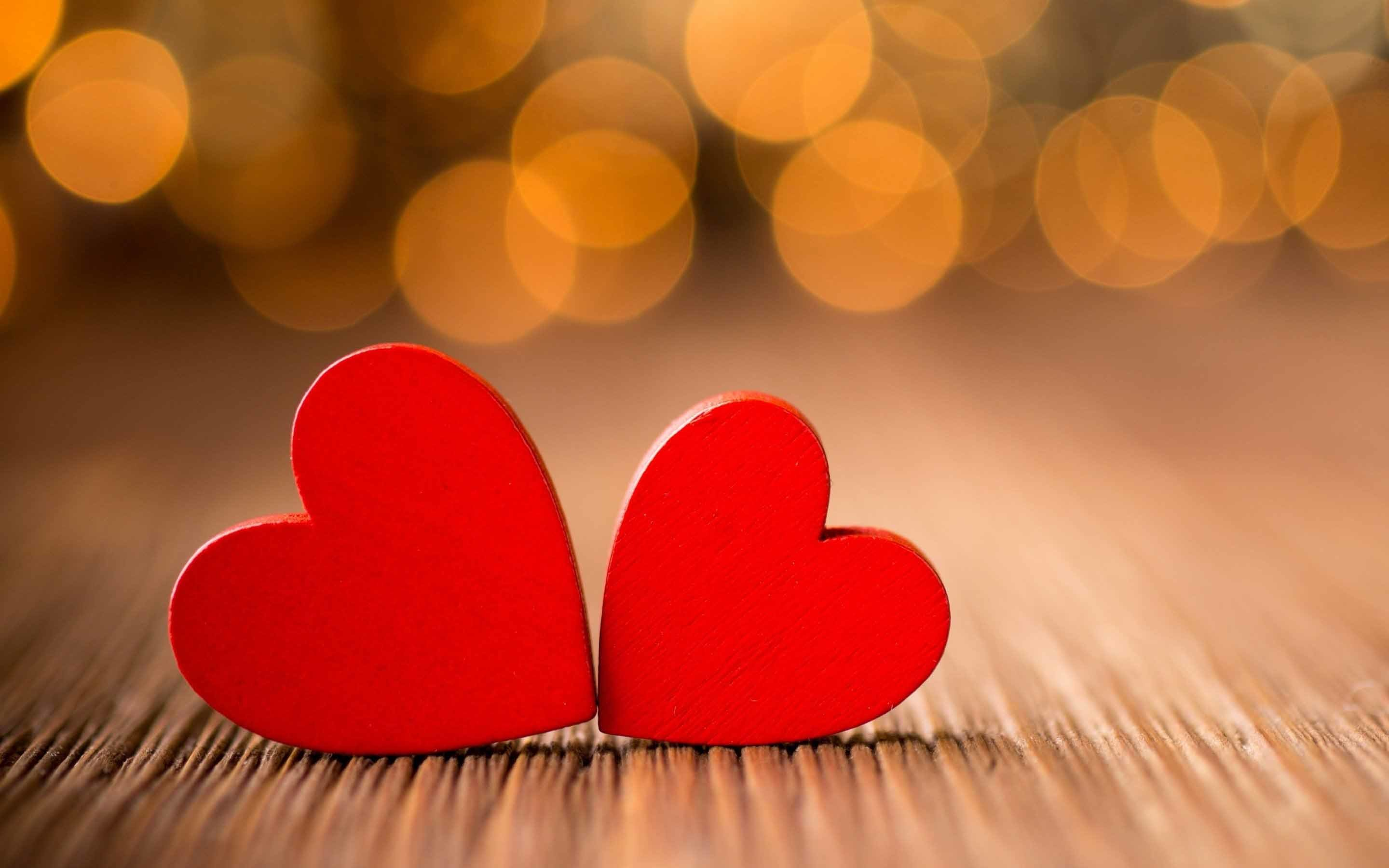 Two red heart couple love symbol hd wallpaper