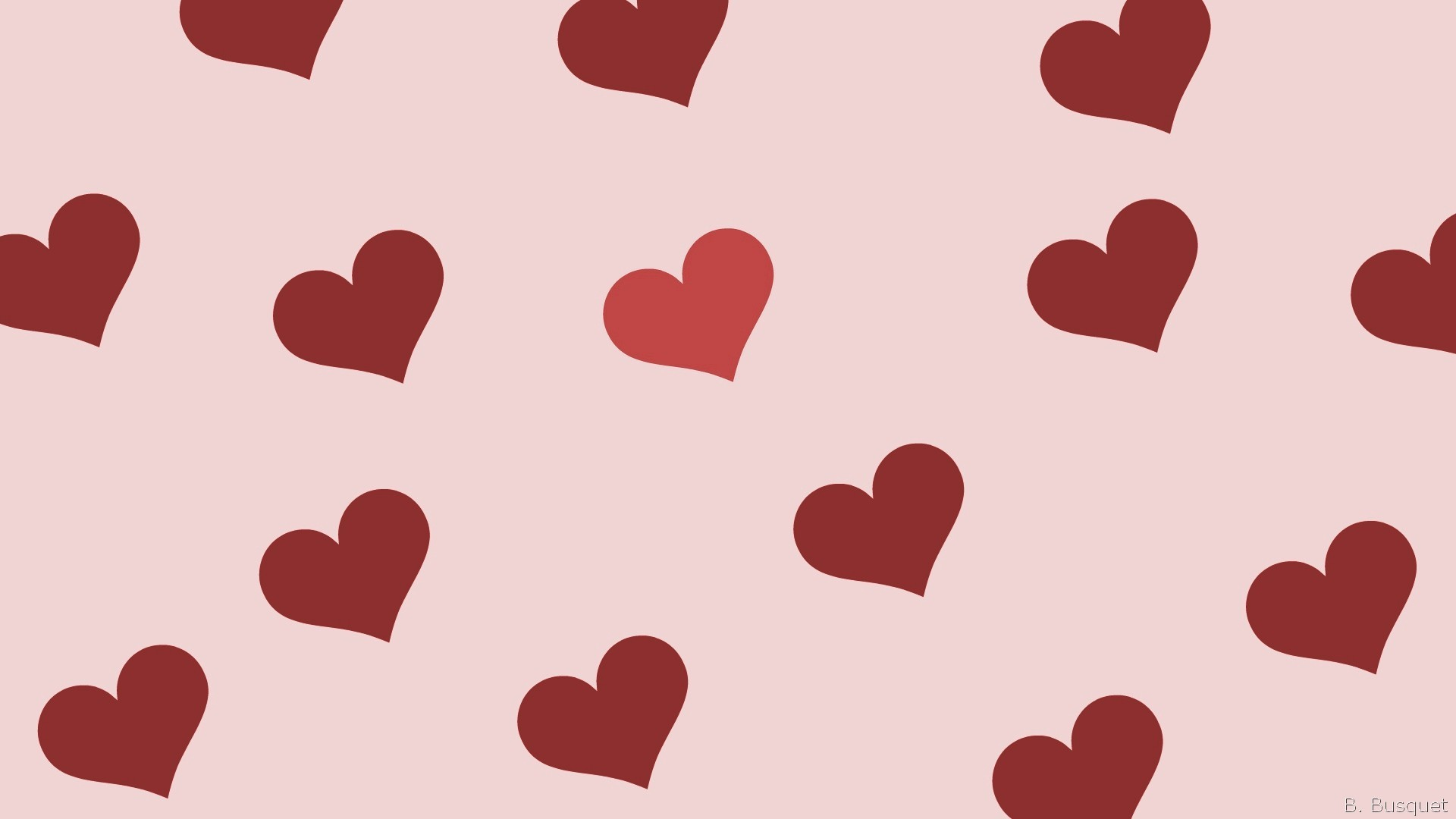 Pink wallpaper with red hearts