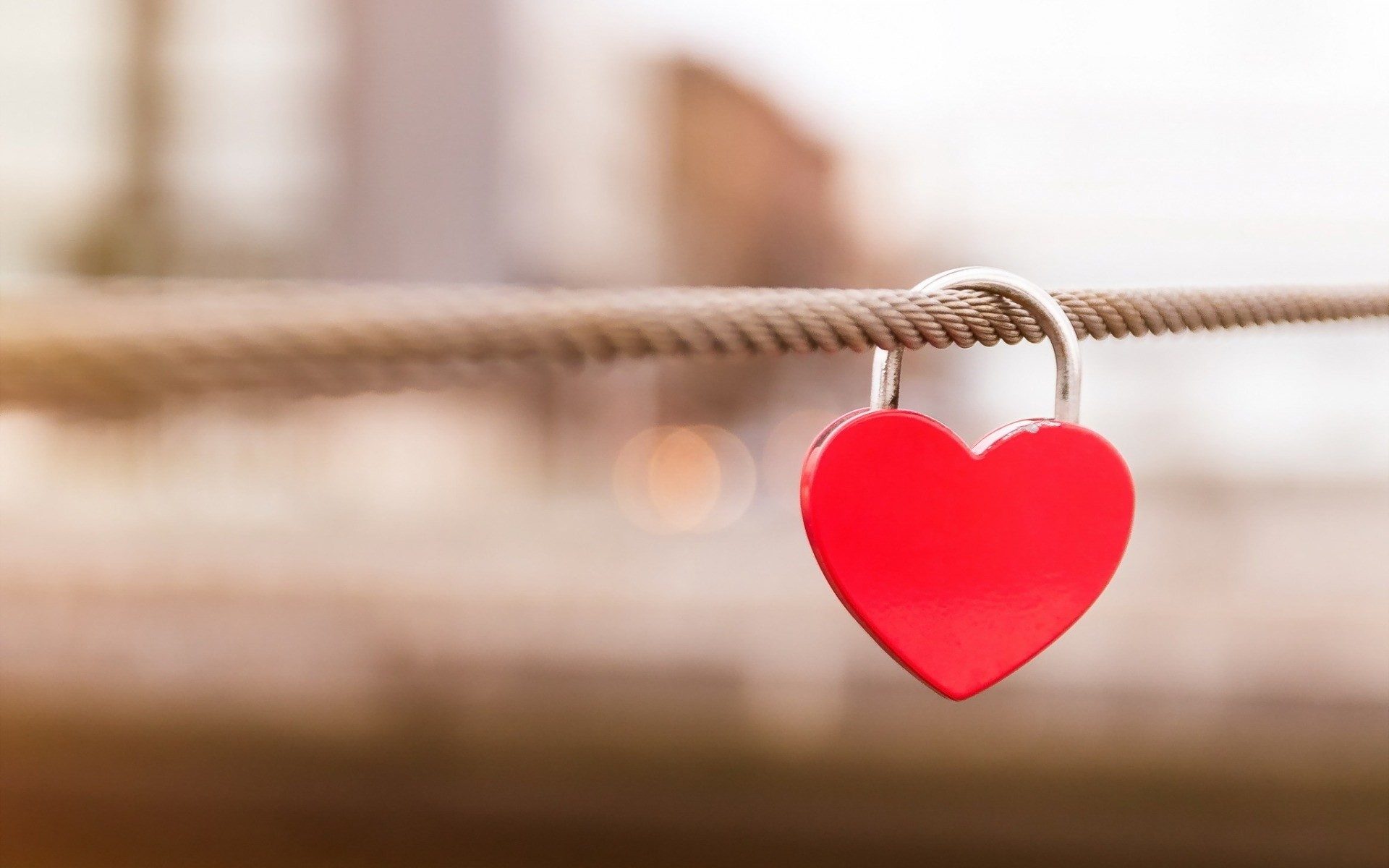 … free download Red Heart Shaped Love Lock On A Rope Macro HD wallpaper