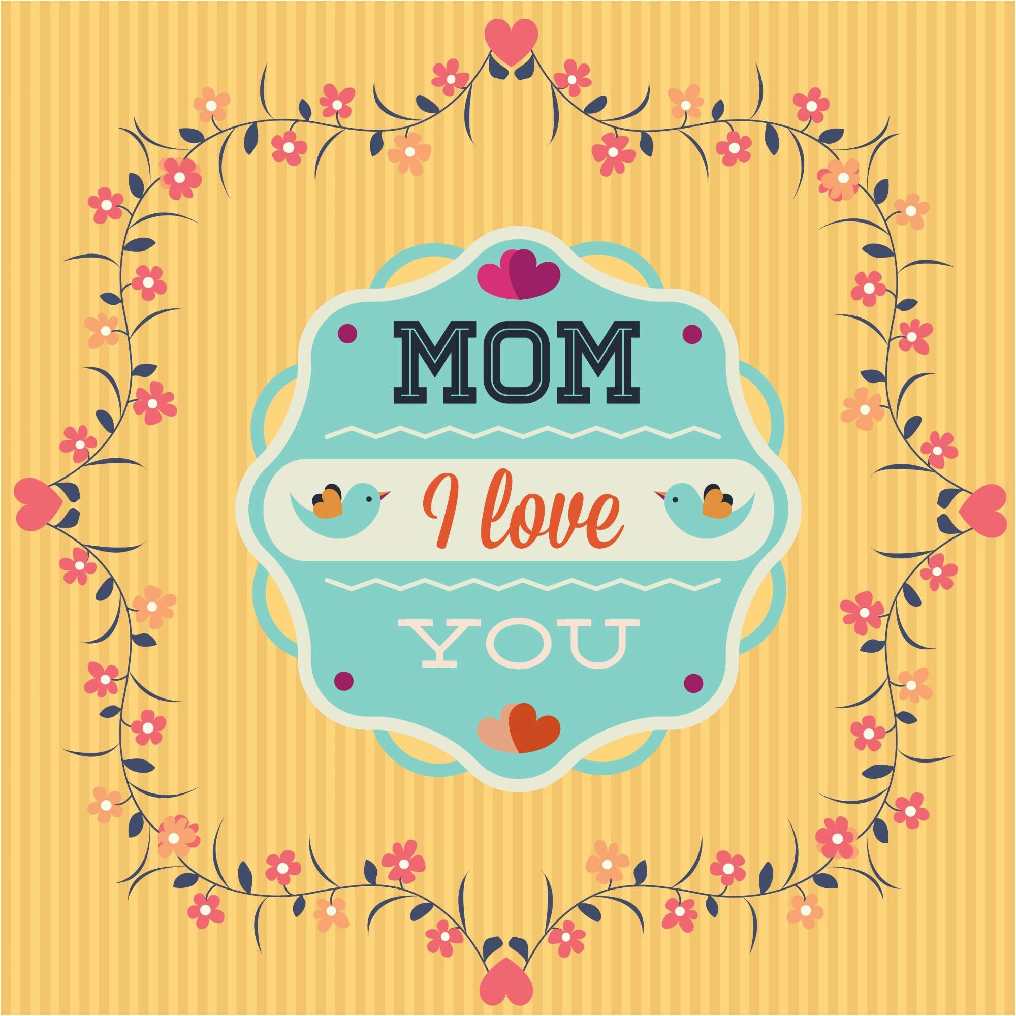 i Love You Mom Greeting Card Design Background Graphics