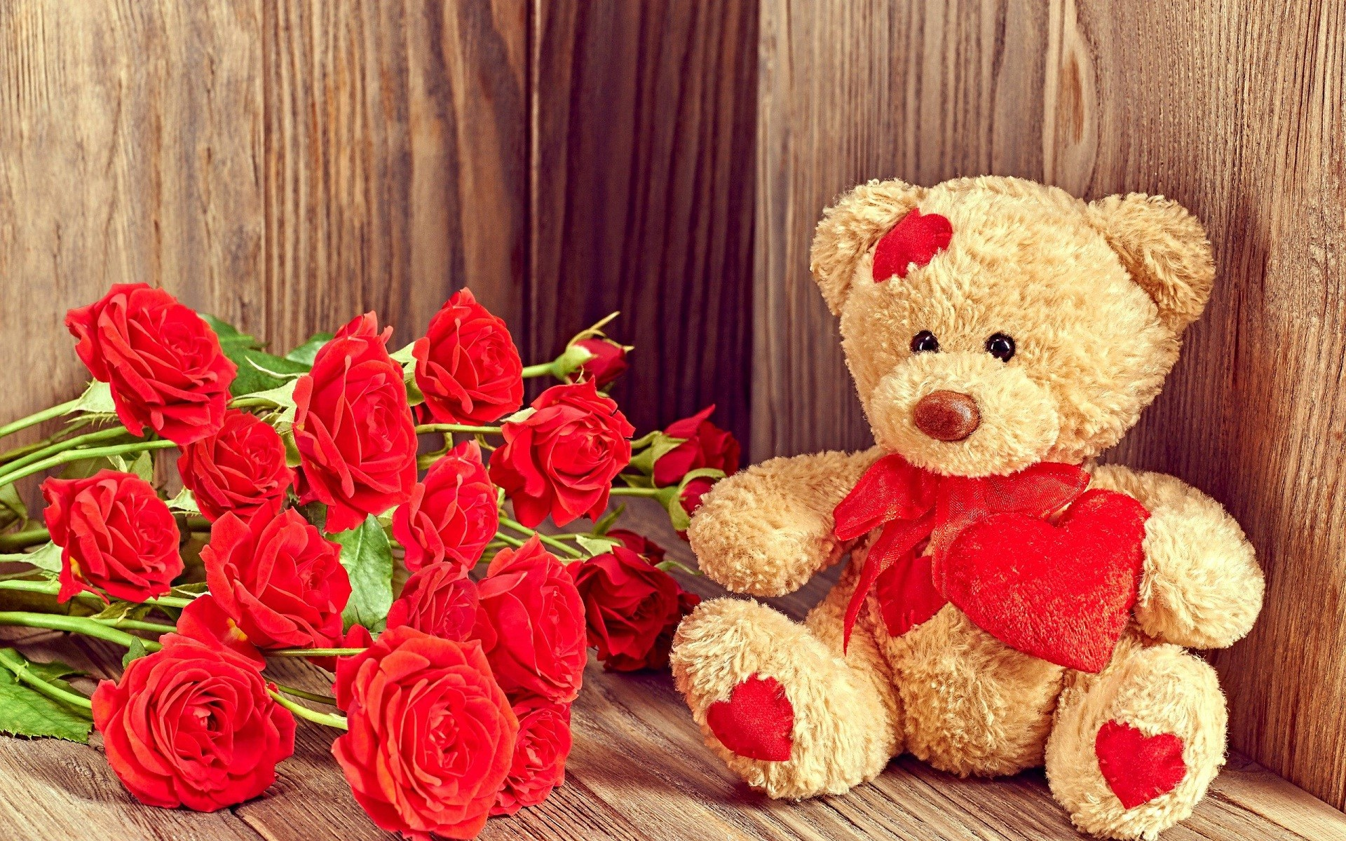 Teddy bear with hearts and red flowers love wallpapers