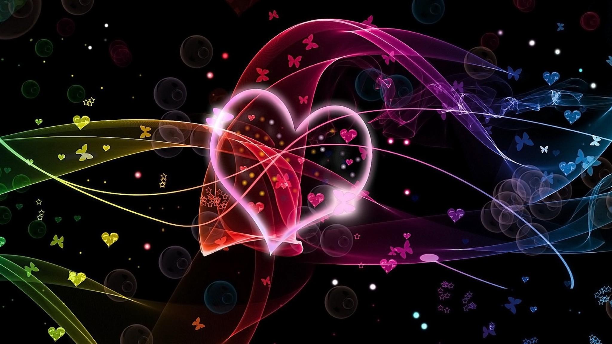 Wallpaper hearts, circles, butterflies, colorful