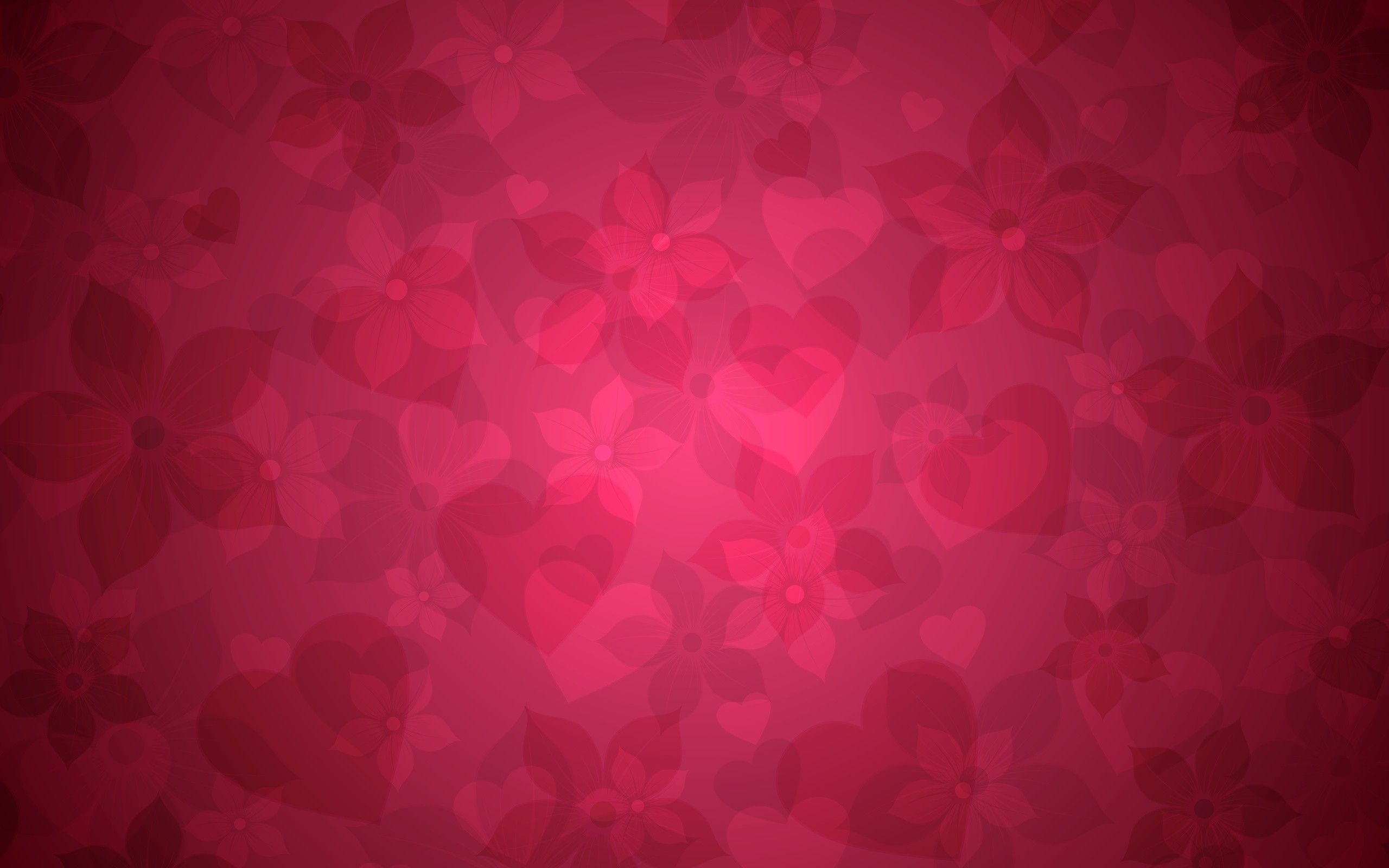 Wallpaper Background, Hearts, Flowers, Graphic, Vivid