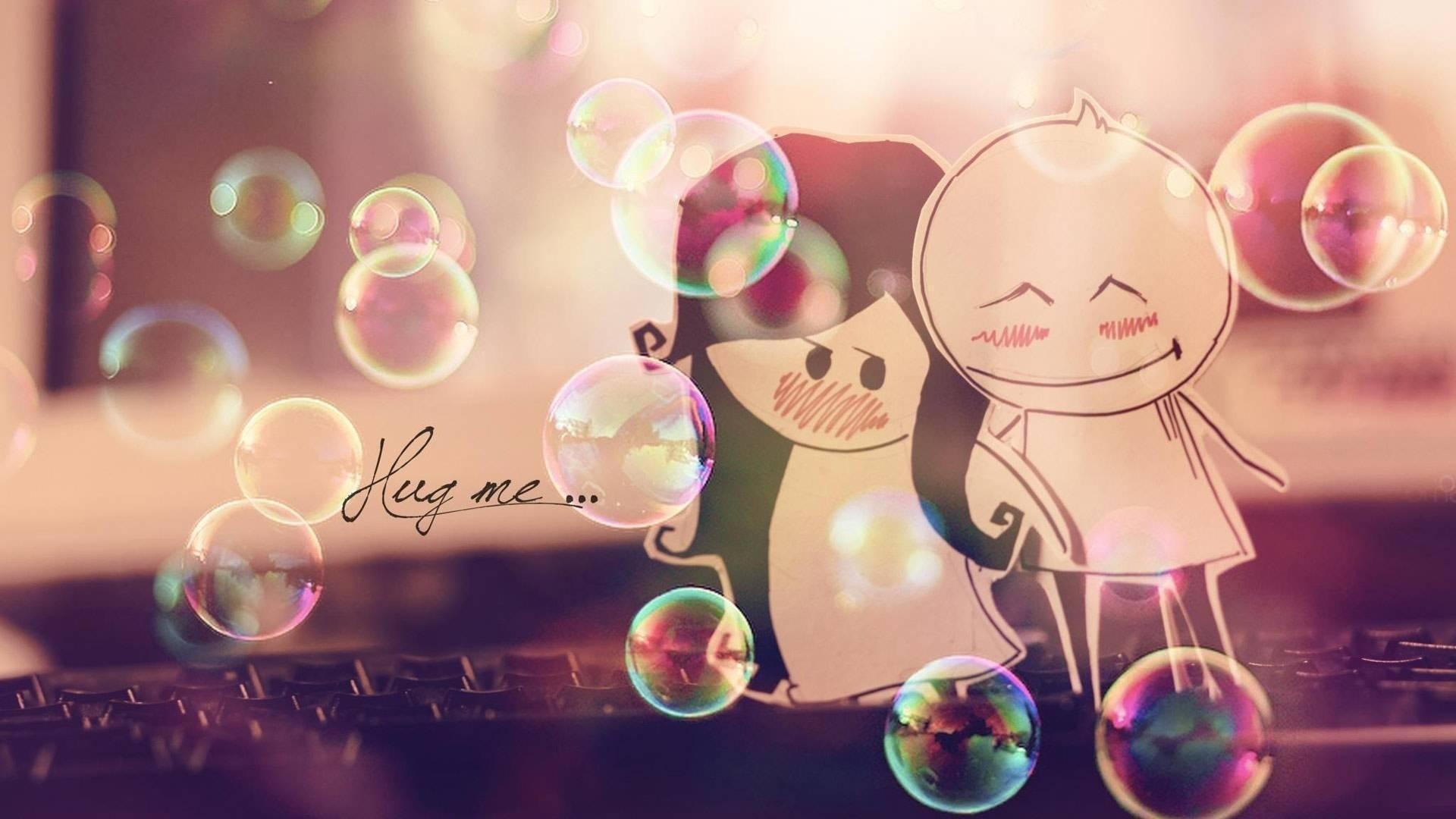 Cute Couple Love Romantic Wallpaper – Hug me .