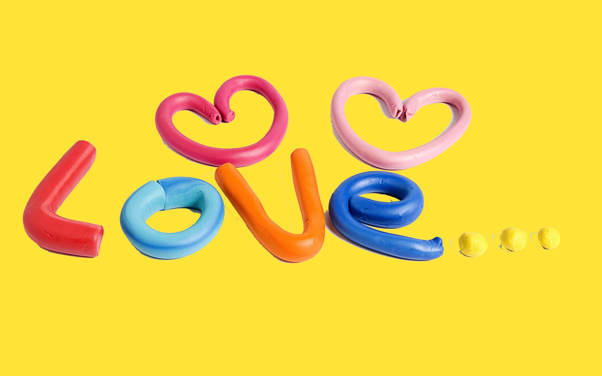 Cute Art Love Yellow Background Desktop.