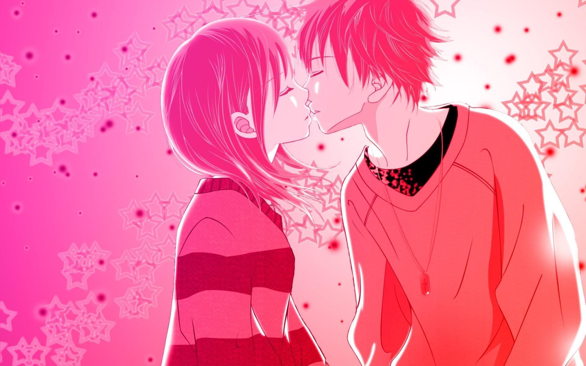 love anime kiss pink wallpaper