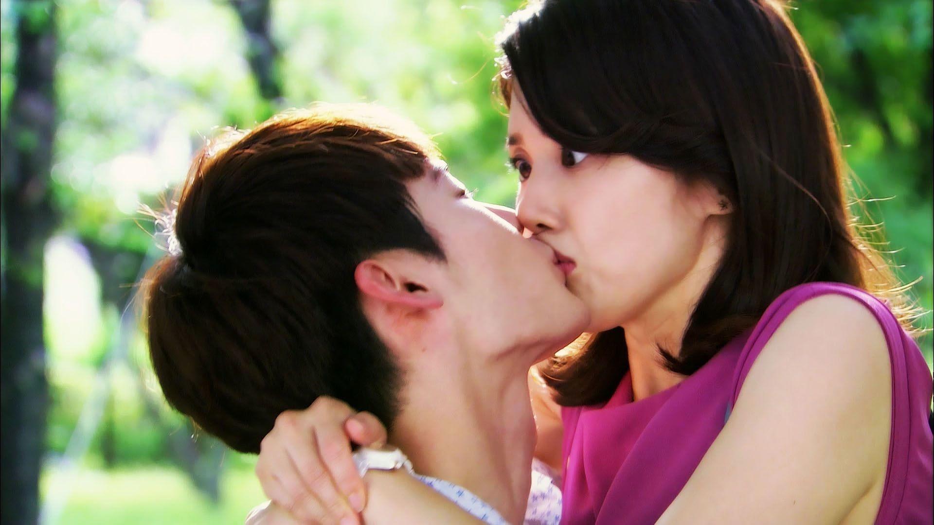 Romantic boy kiss to pretty girl shocked