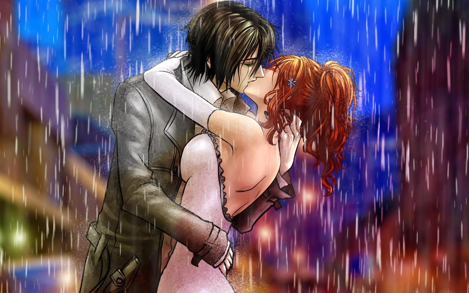Wallpaper Boy, Girl, Kiss, Rain, Hug