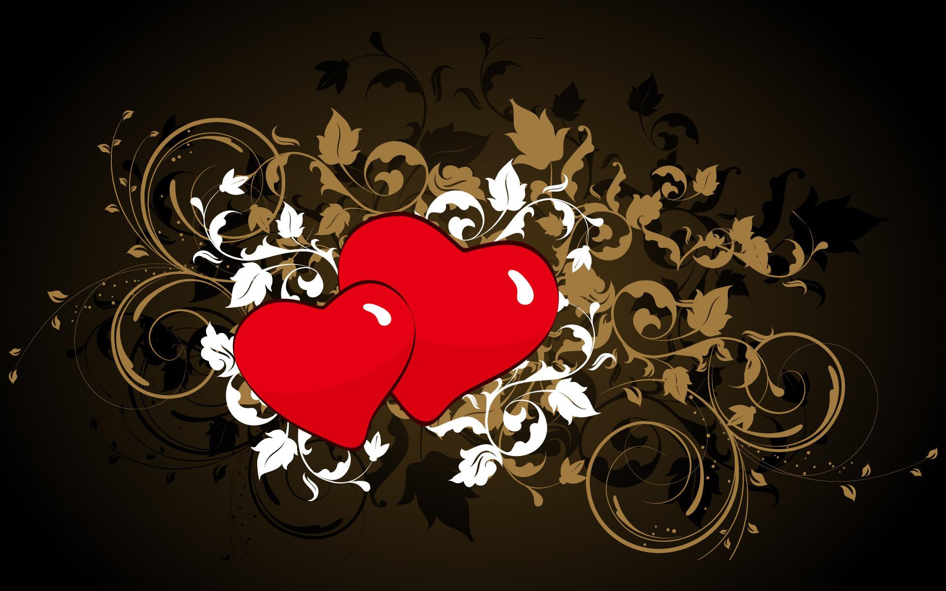 Heart Love HD Black Background