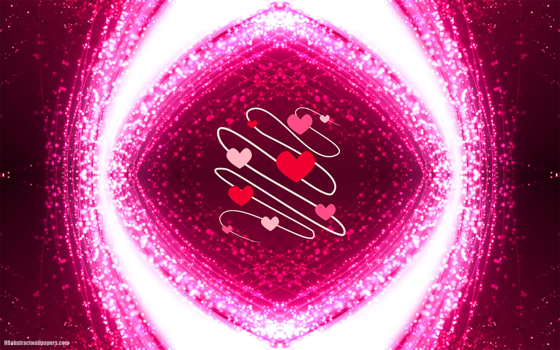 Pink abstract background with love hearts